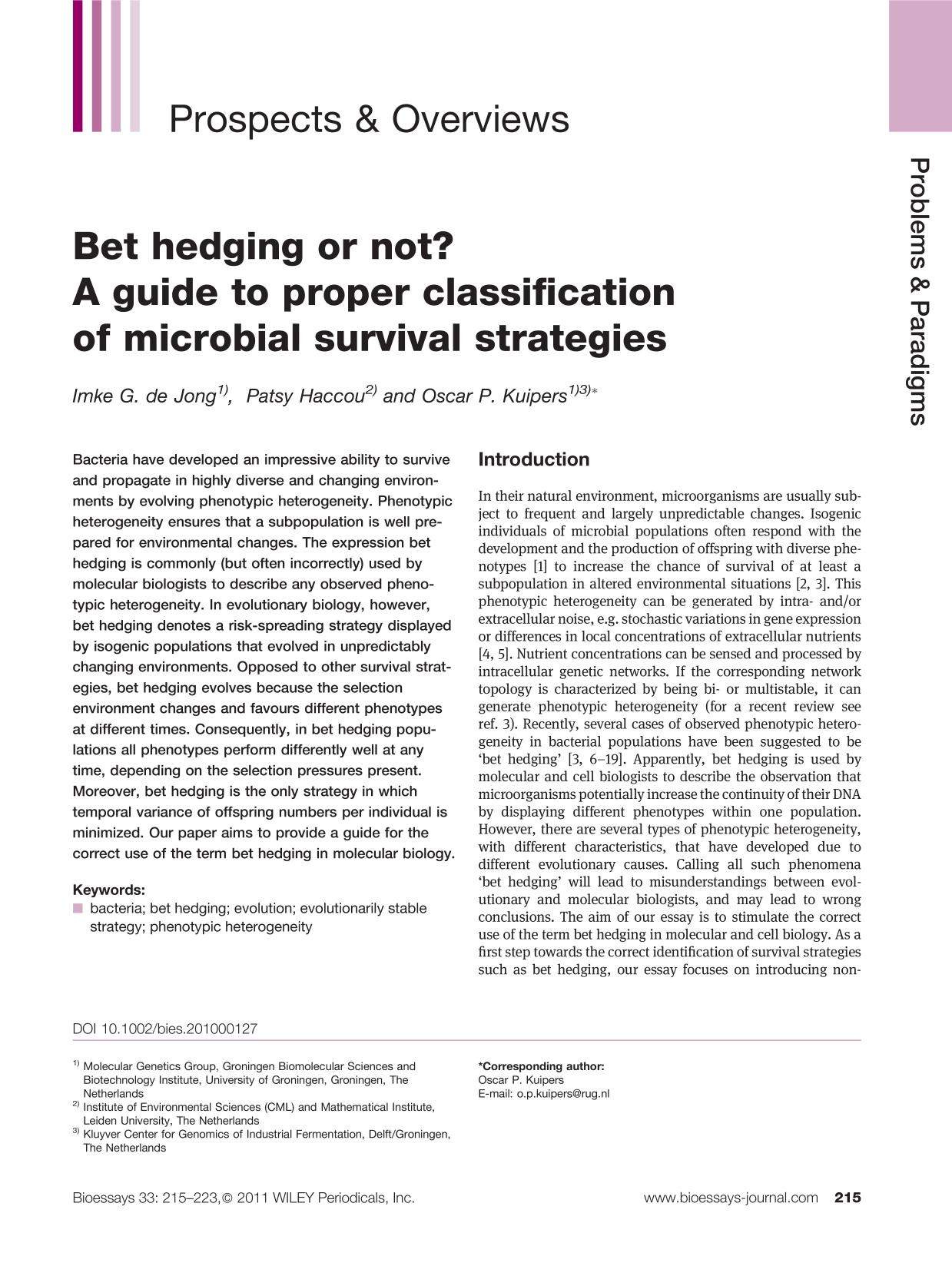 Portada del libro Bet hedging or not? A guide to proper classification of microbial survival strategies