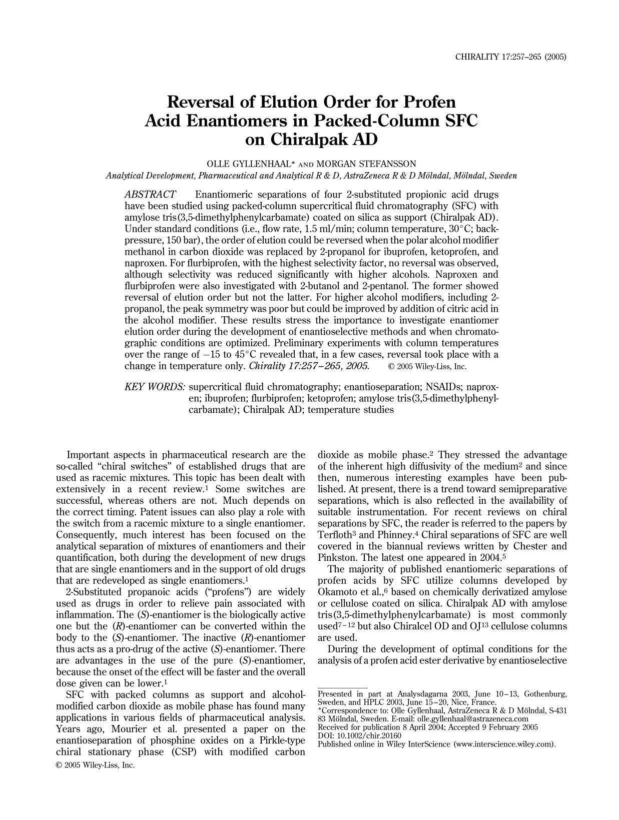 Εξώφυλλο βιβλίου Reversal of elution order for profen acid enantiomers in packed-column SFC on Chiralpak AD