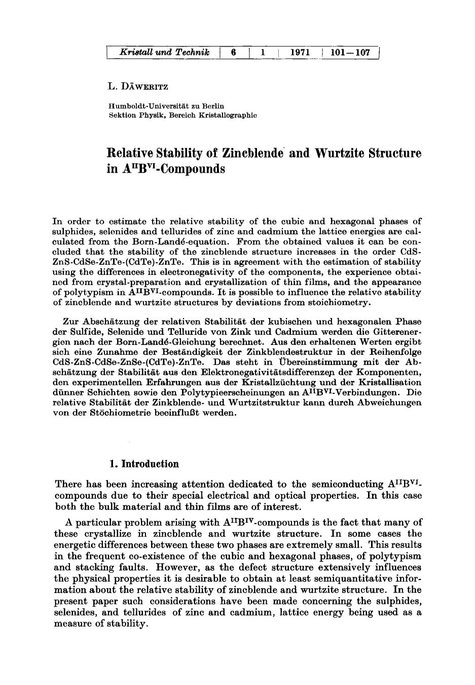 Sampul buku Relative stability of zincblende and wurtzite structure in AIIBVI-compounds