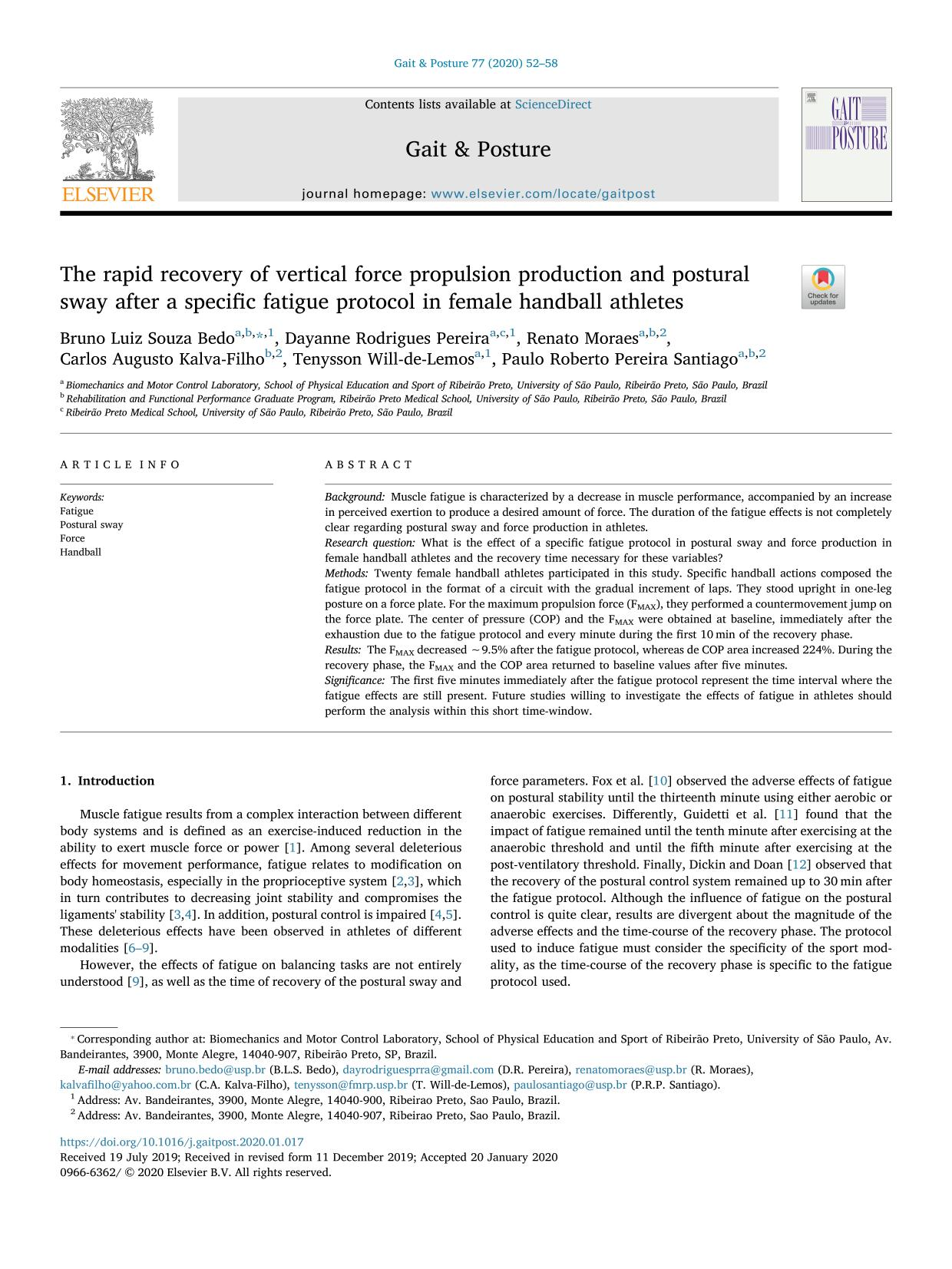 Portada del libro The rapid recovery of vertical force propulsion production and postural sway after a specific fatigue protocol in female handball athletes