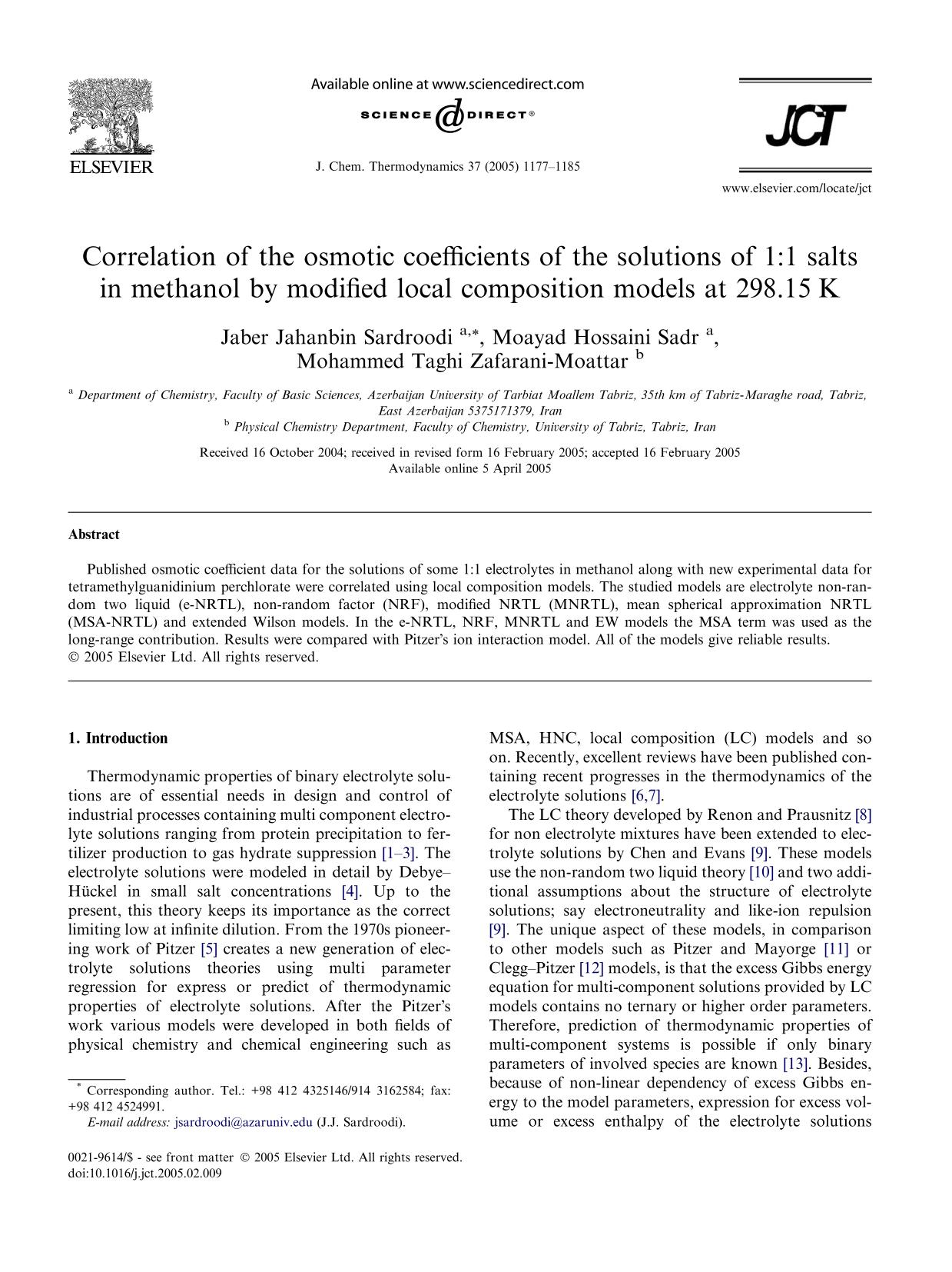 表紙 Correlation of the osmotic coefficients of the solutions of 1:1 salts in methanol by modified local composition models at 298.15 K