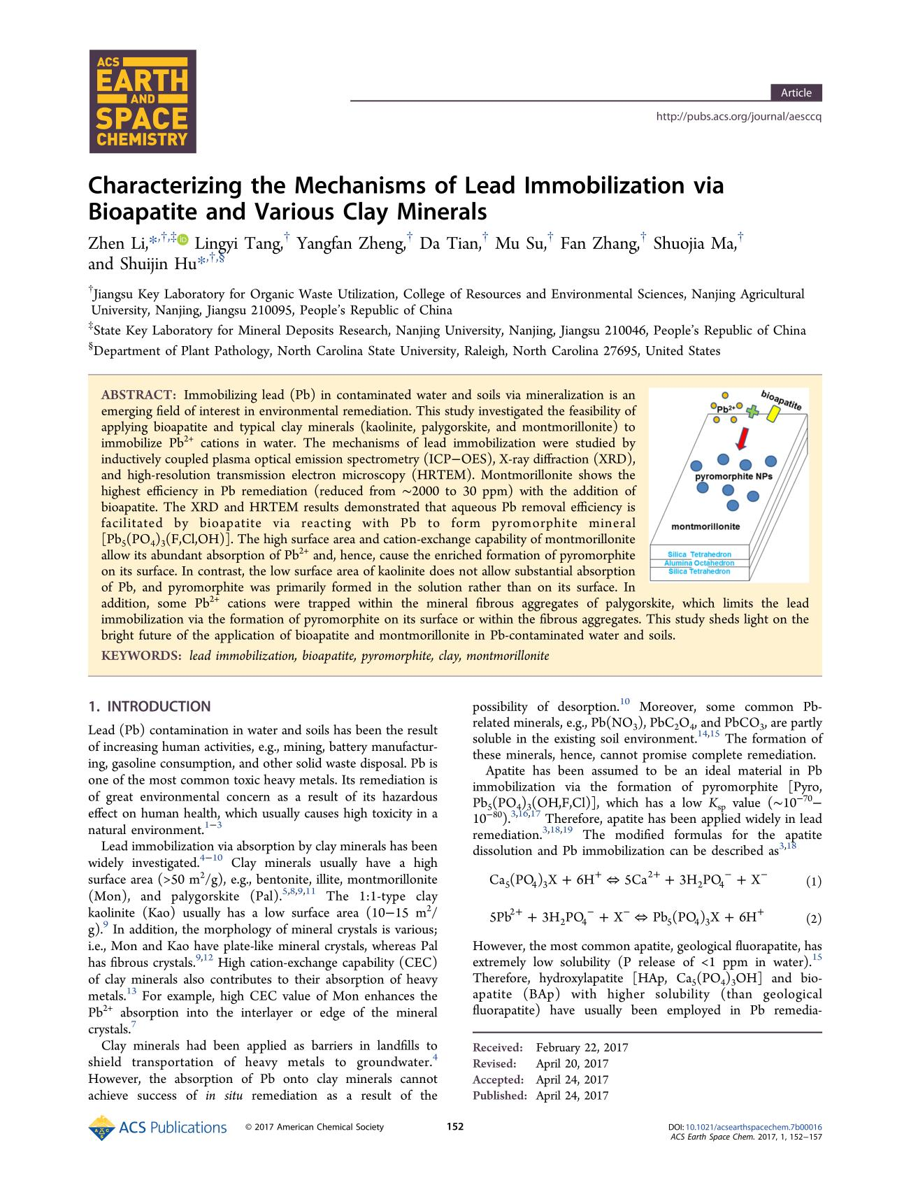 Book cover Characterizing the Mechanisms of Lead Immobilization via Bioapatite and Various Clay Minerals