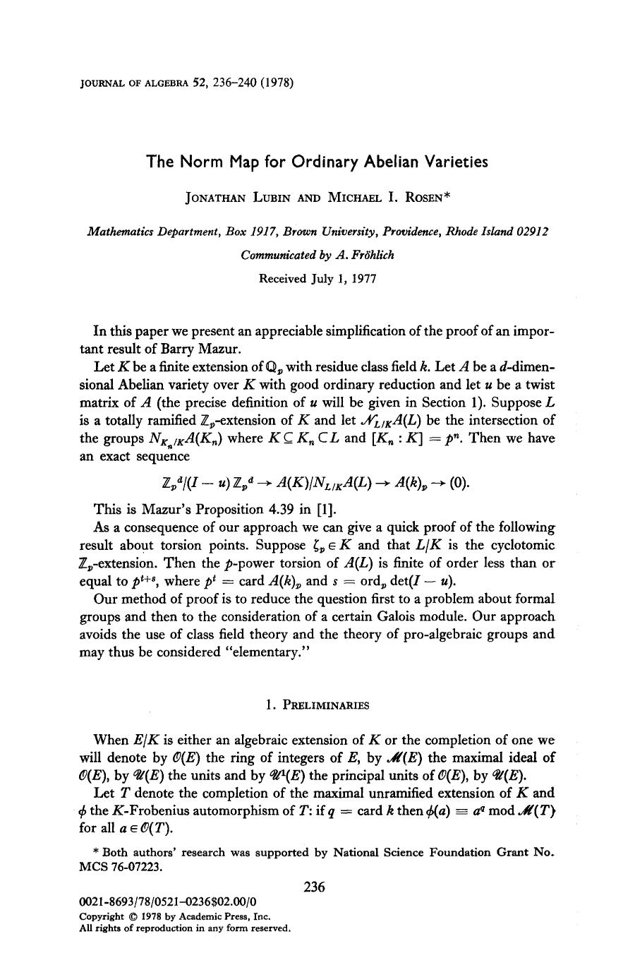 Обкладинка книги The norm map for ordinary abelian varieties