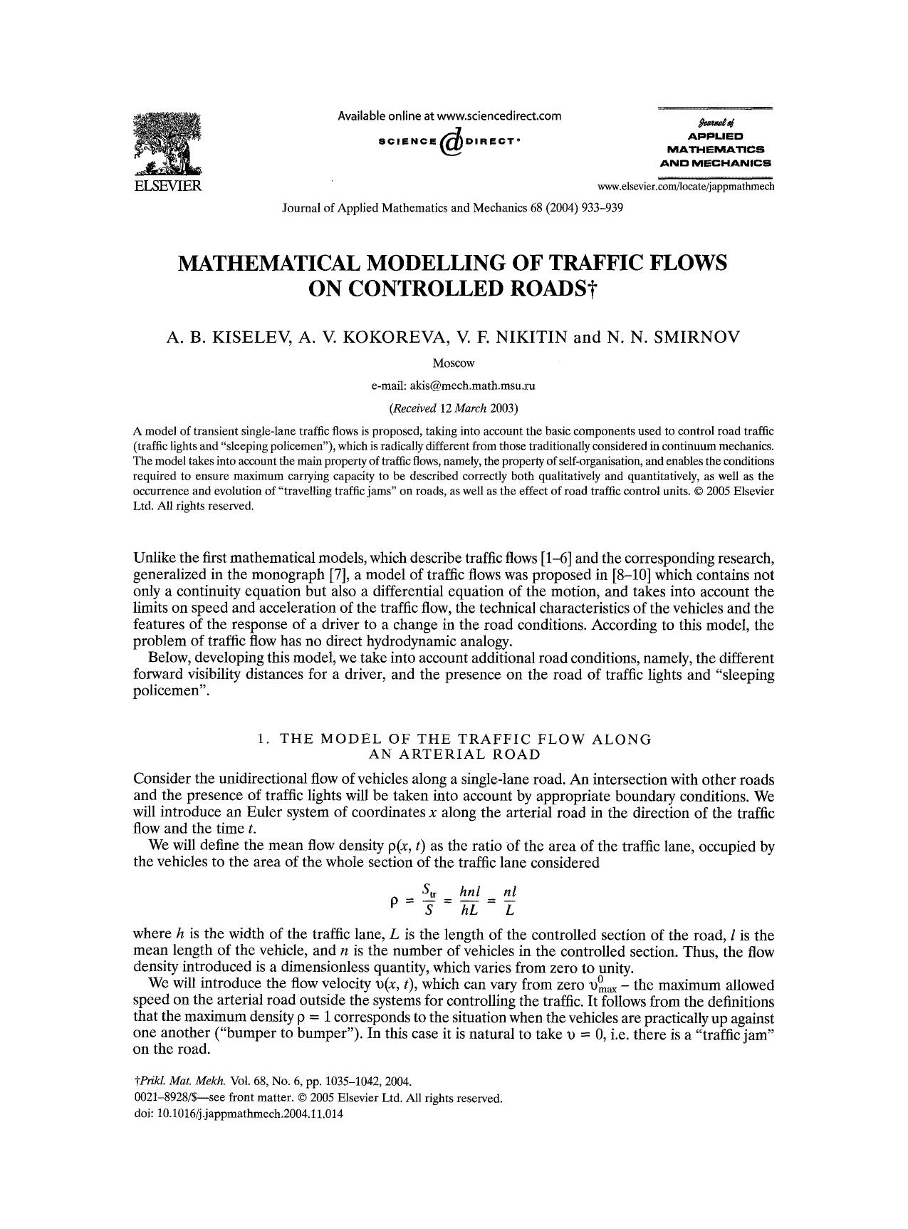 Book cover Mathematical modelling of traffic flows on controlled roads