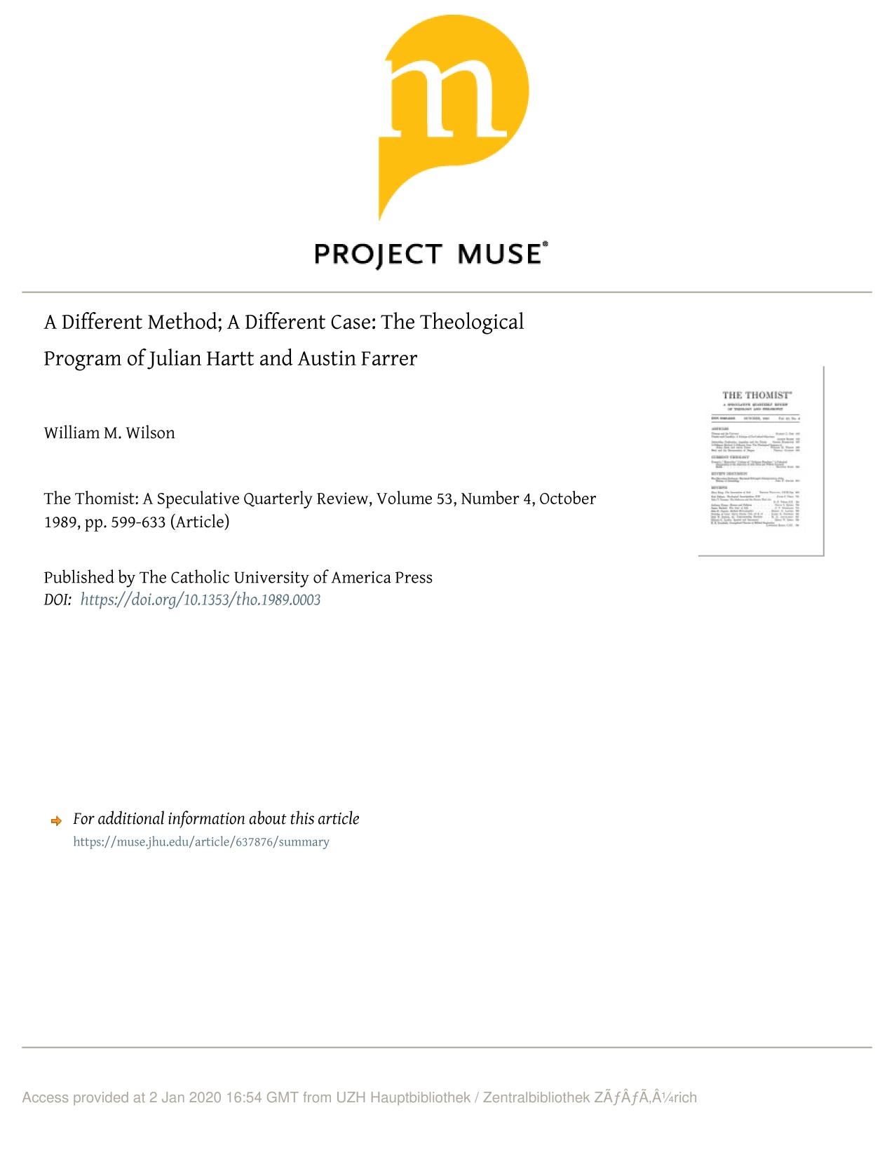 Book cover A Different Method; A Different Case: The Theological Program of Julian Hartt and Austin Farrer