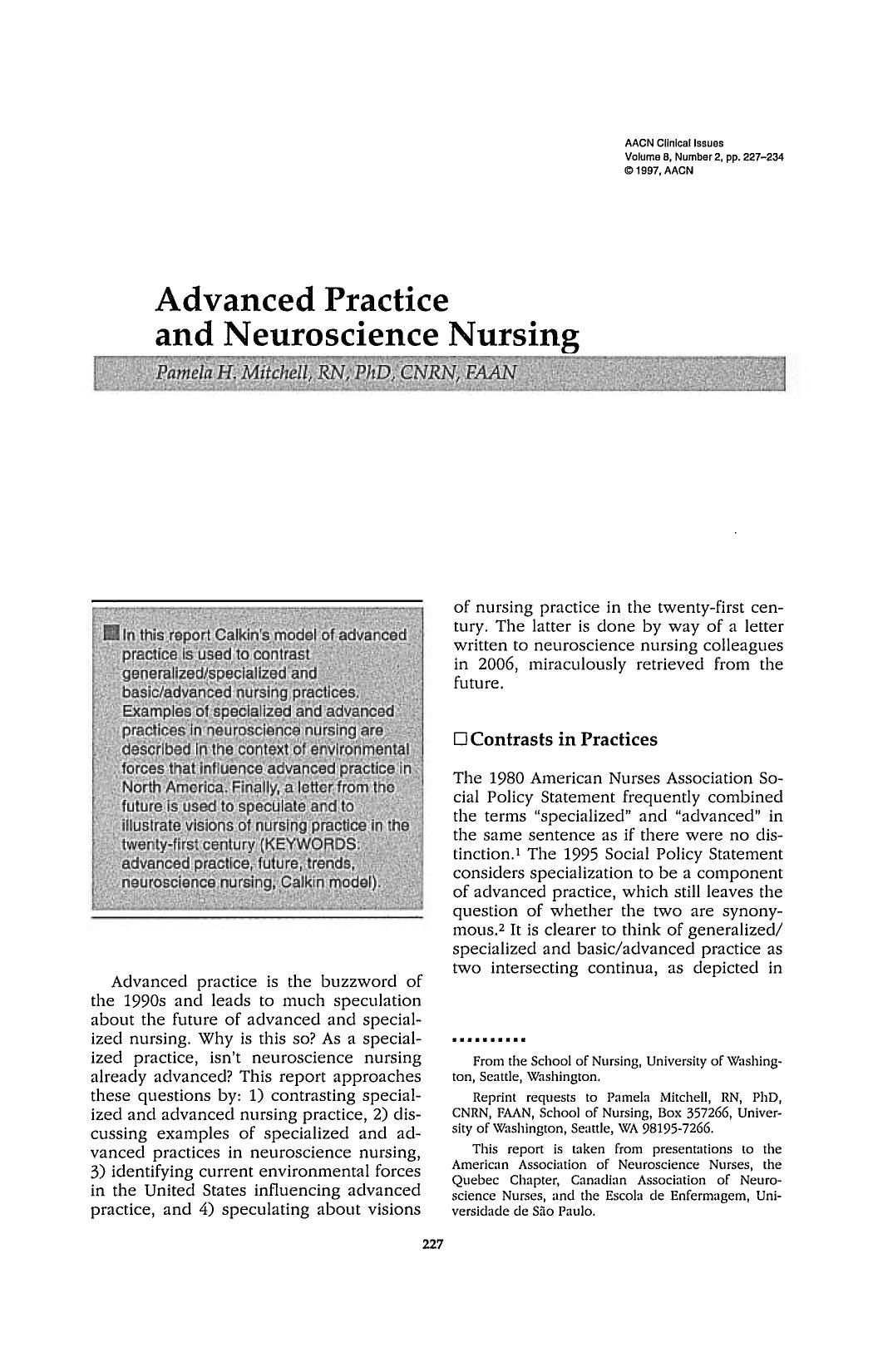 غلاف الكتاب Advanced Practice and Neuroscience Nursing