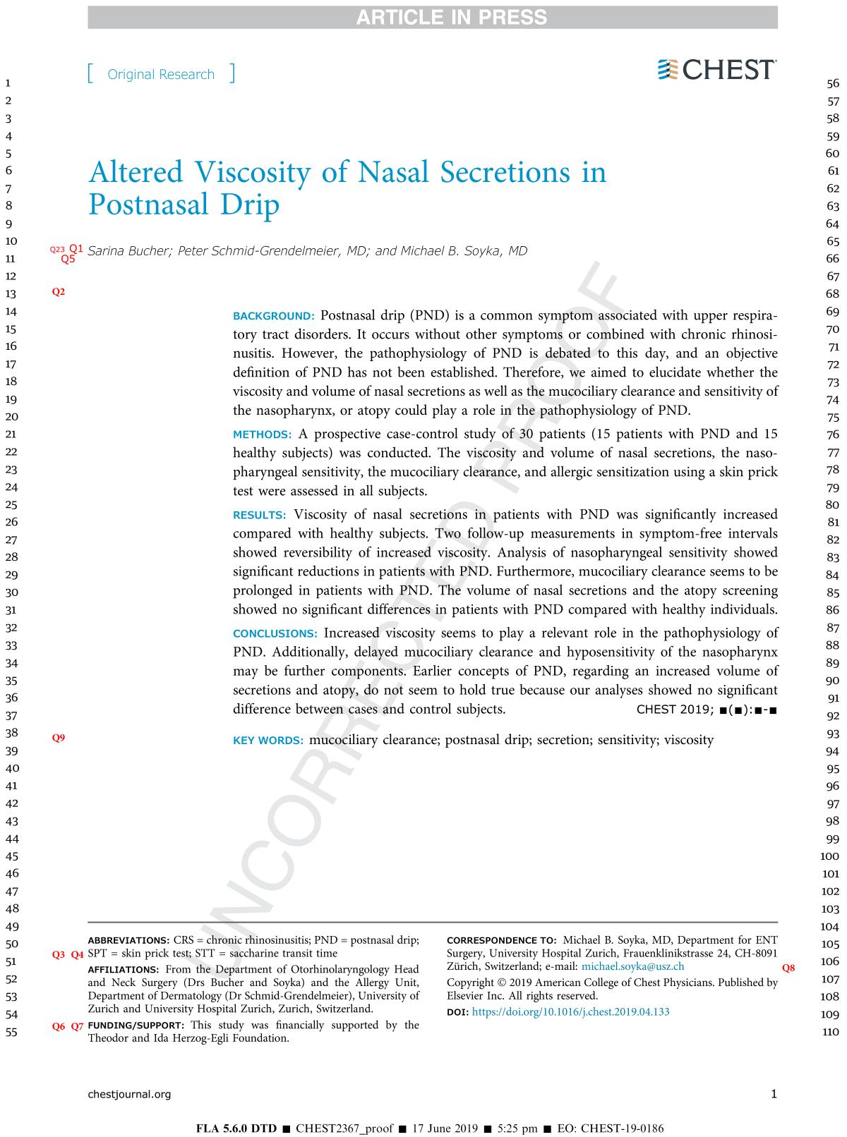 Copertina Altered Viscosity of Nasal Secretions in Postnasal Drip