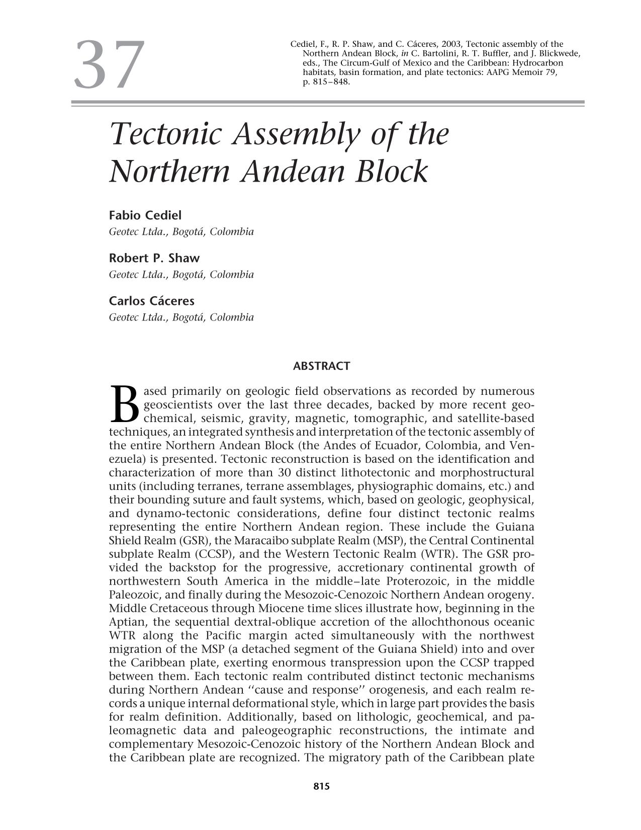 Portada del libro Tectonic Assembly of the Northern Andean Block