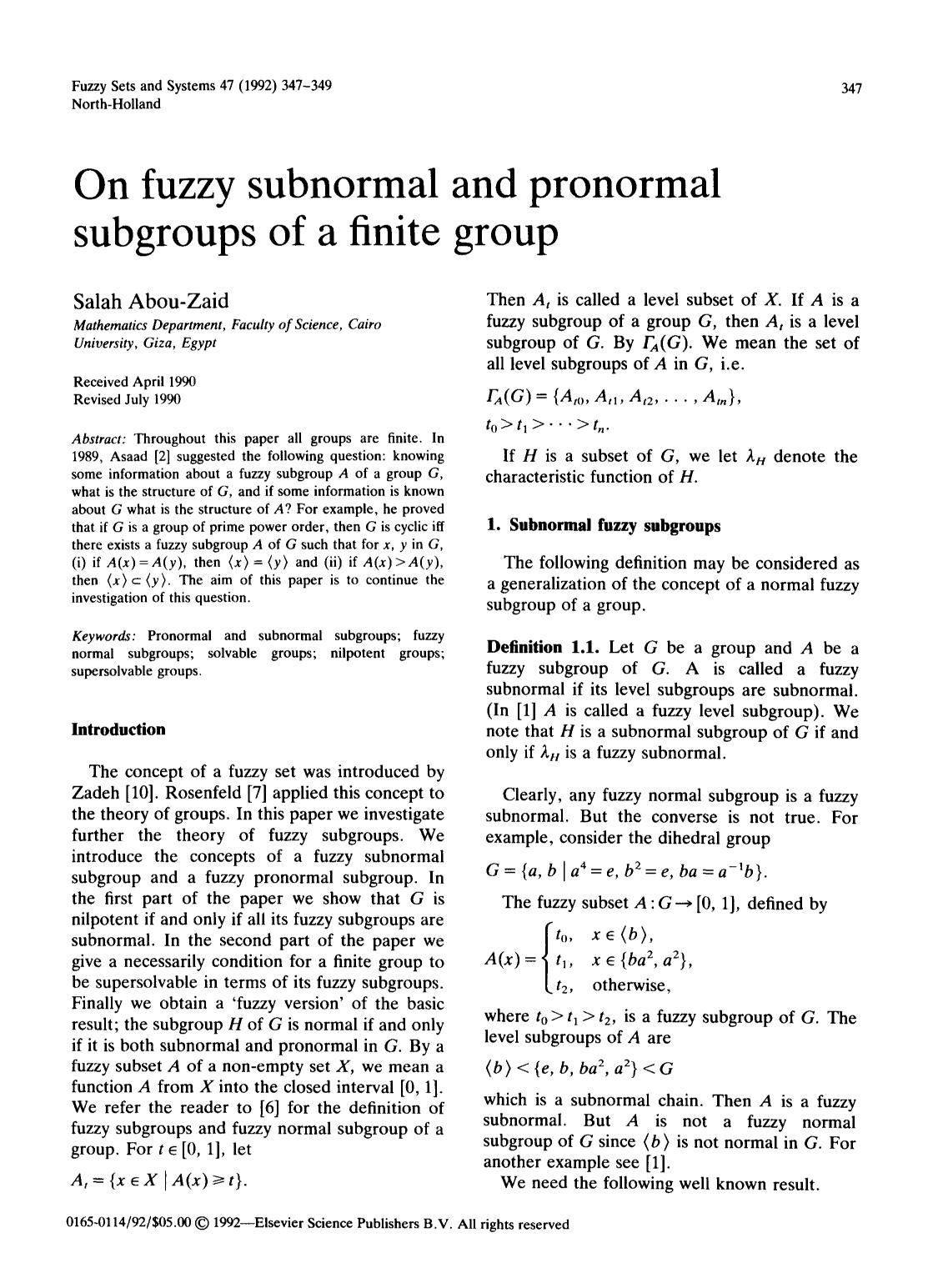 Buchcover On fuzzy subnormal and pronormal subgroups of a finite group