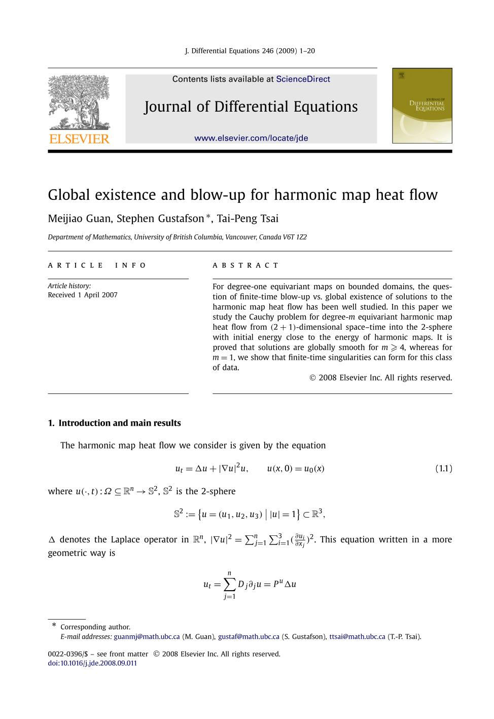 Portada del libro Global existence and blow-up for harmonic map heat flow