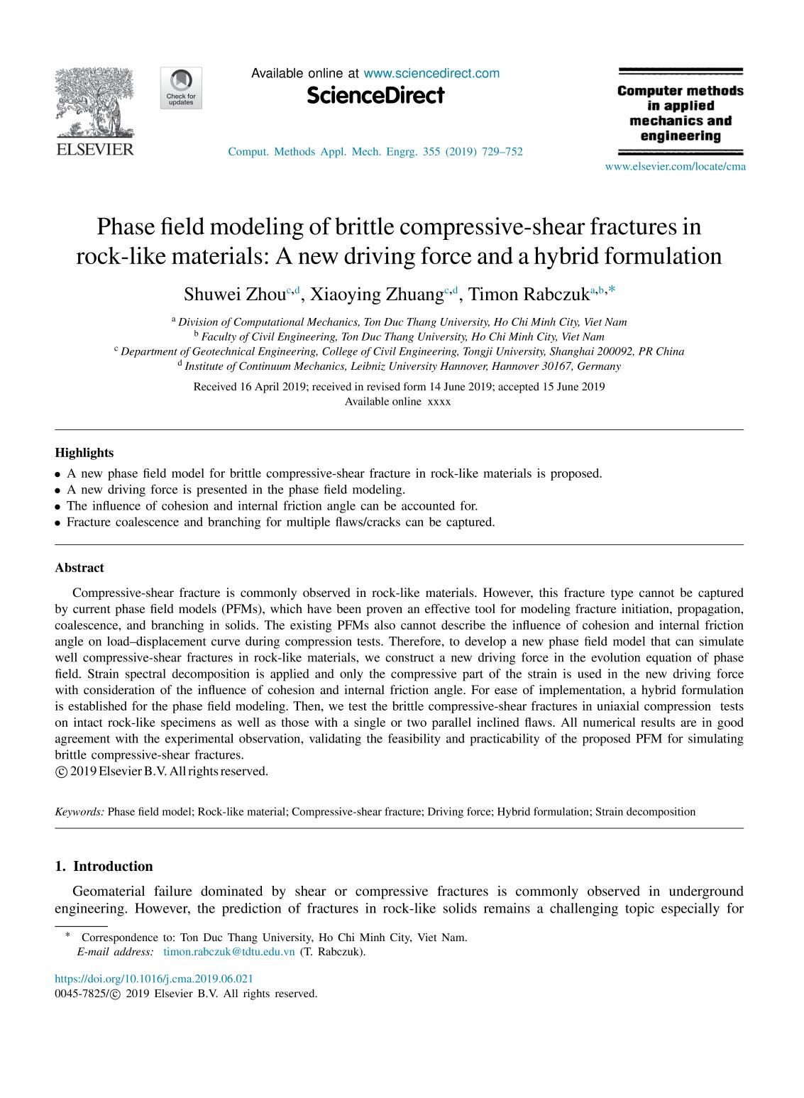 Book cover Phase field modeling of brittle compressive-shear fractures in rock-like materials: A new driving force and a hybrid formulation