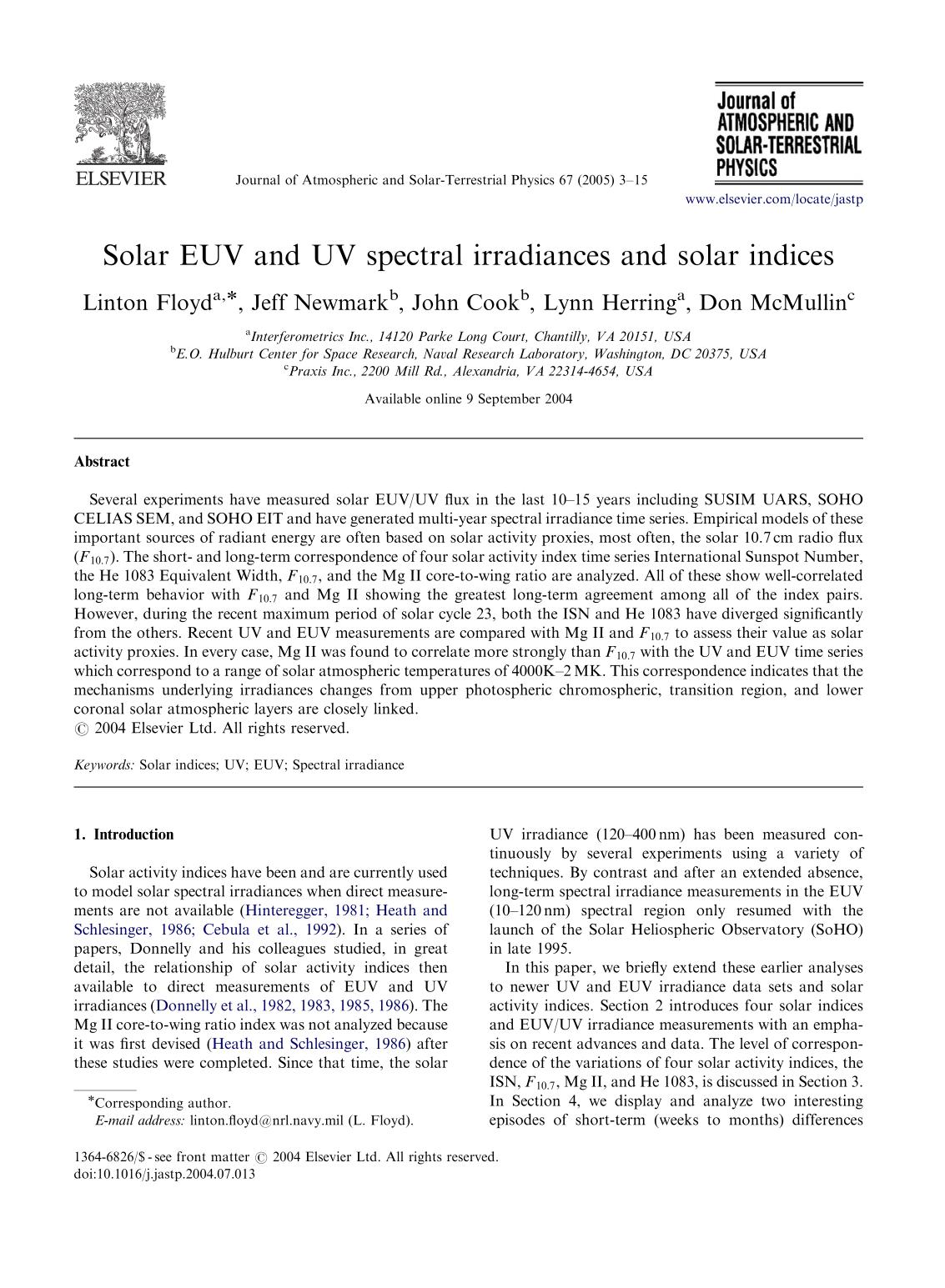 Sampul buku Solar EUV and UV spectral irradiances and solar indices