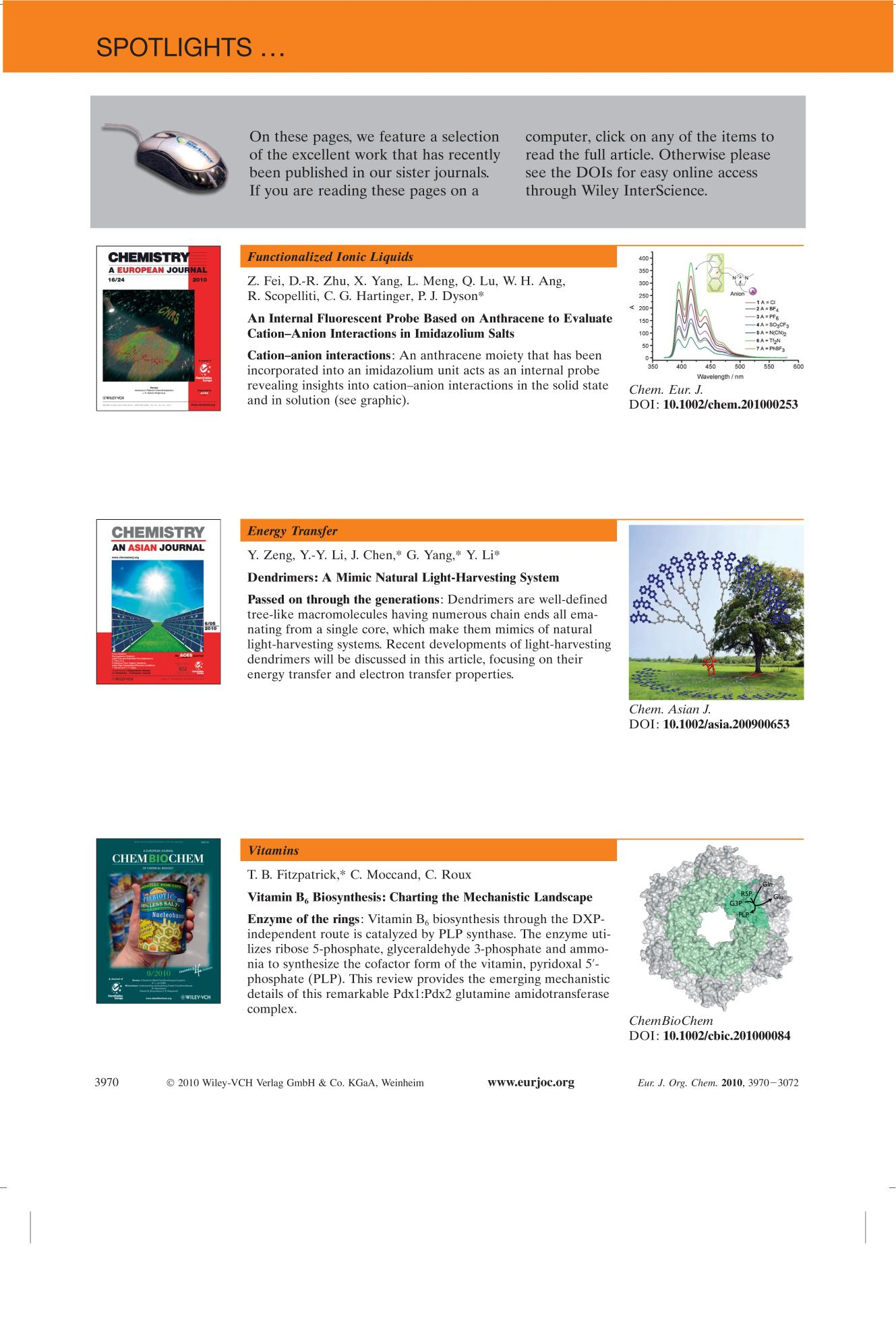 غلاف الكتاب Spotlights on our sister journals: Eur. J. Org. Chem. 21/2010
