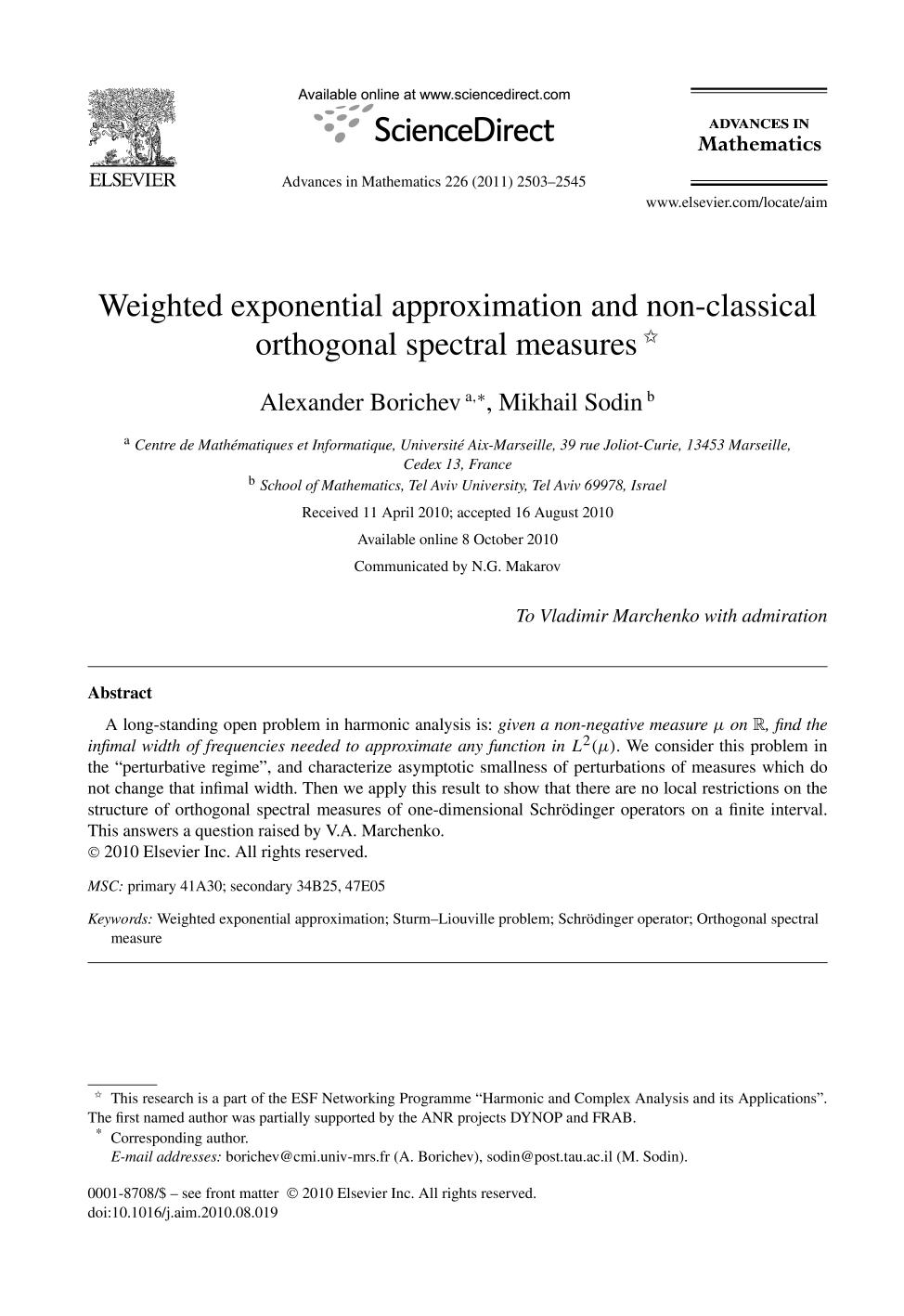 Κάλυψη βιβλίων Weighted exponential approximation and non-classical orthogonal spectral measures