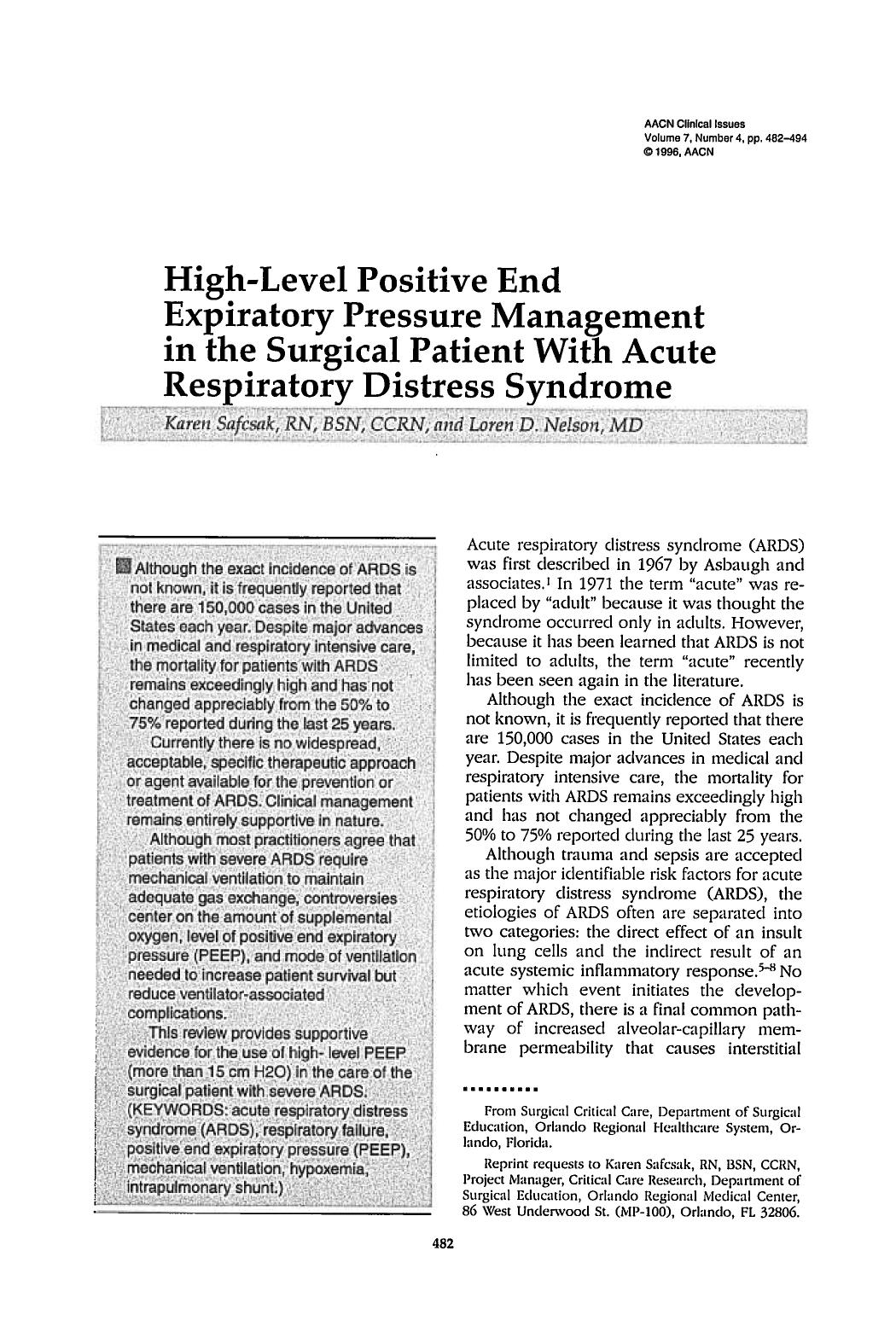Book cover High-Level Positive End Expiratory Pressure Management in the Surgical Patient With Acute Respiratory Distress Syndrome