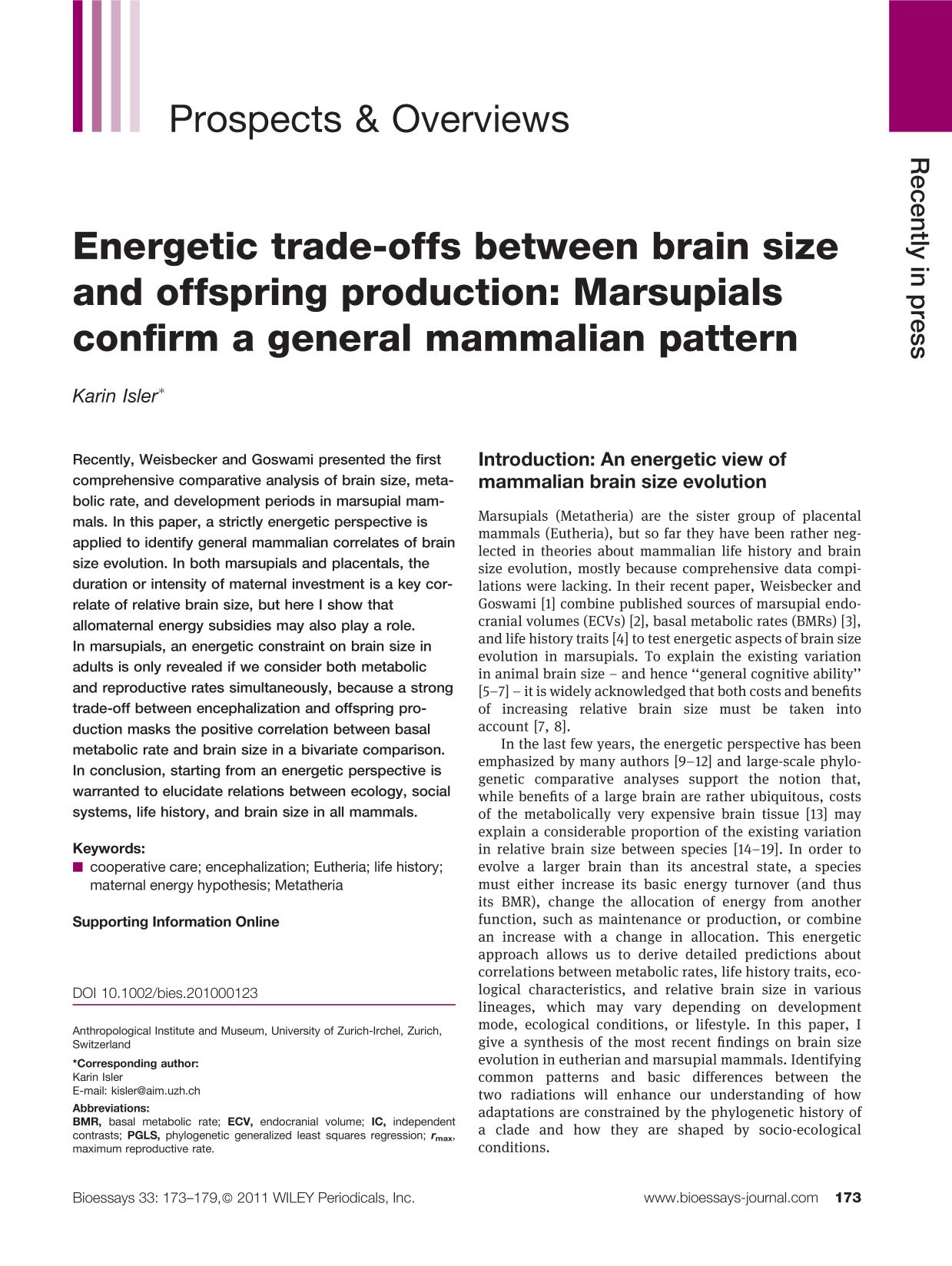 पुस्तक आवरण Energetic trade-offs between brain size and offspring production: Marsupials confirm a general mammalian pattern