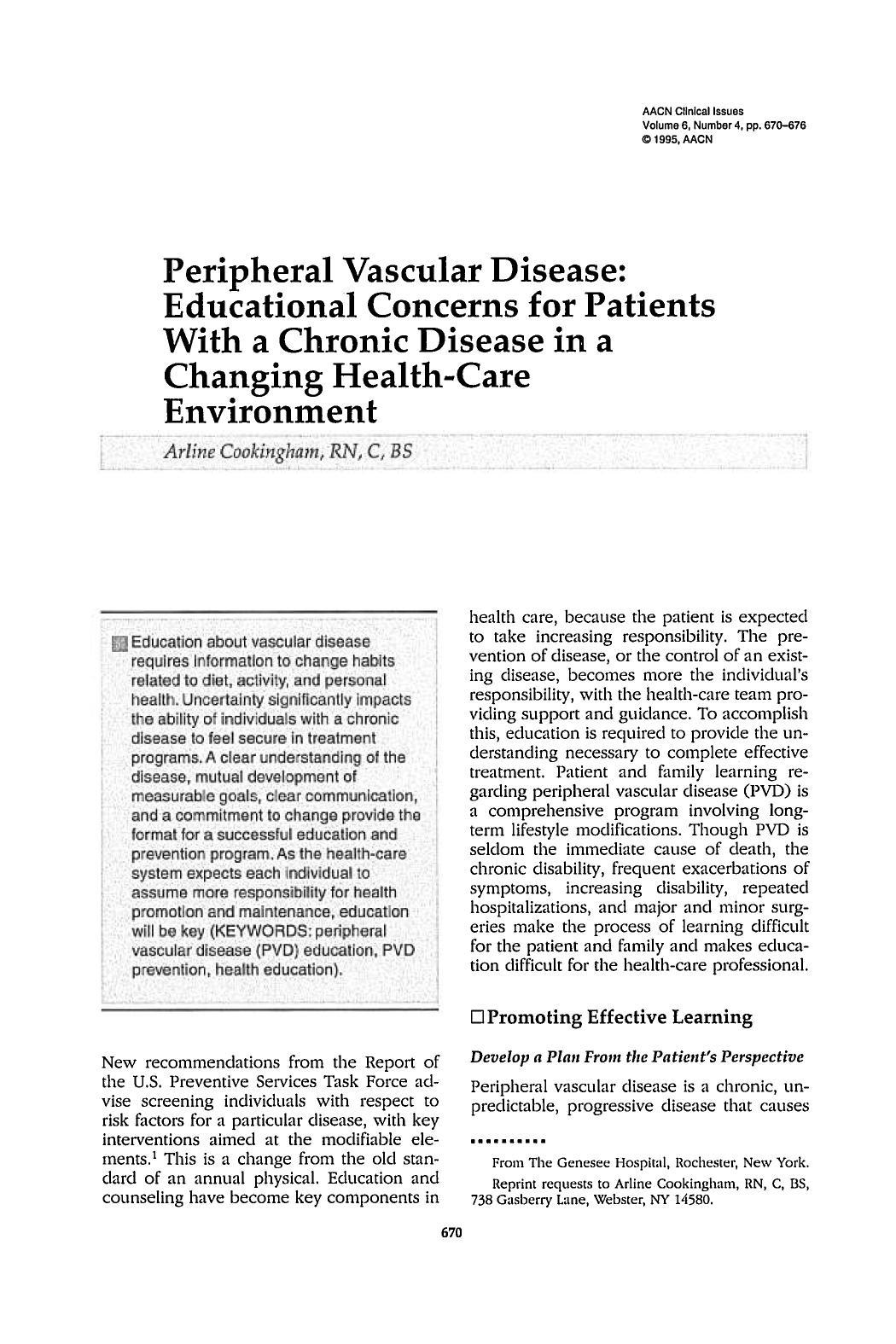 Book cover Peripheral Vascular Disease: Educational Concerns for Patients With a Chronic Disease in a Changing Health-Care Environment