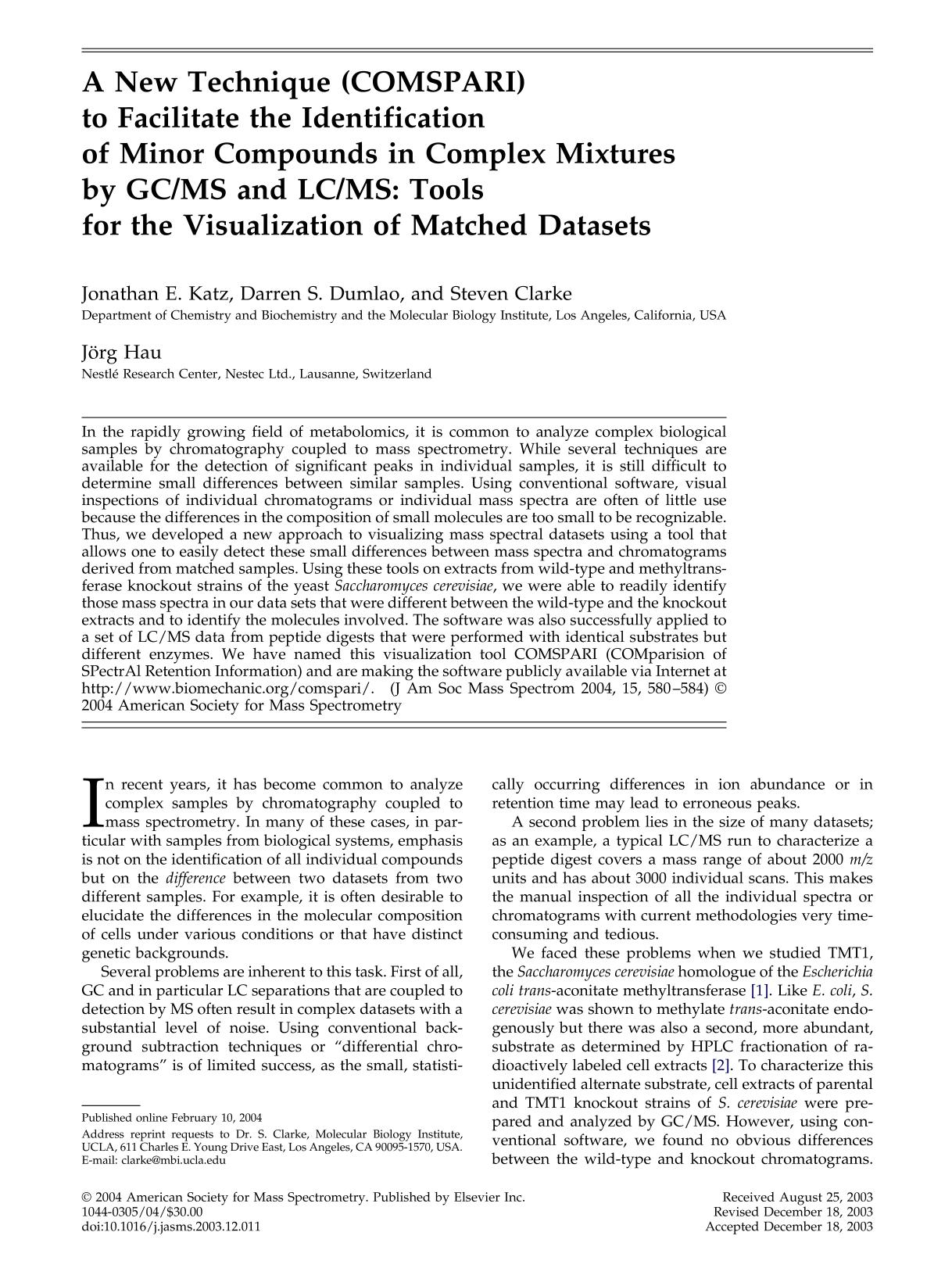 หน้าปก A new technique (COMSPARI) to facilitate the identification of minor compounds in complex mixtures by GC/MS and LC/MS: tools for the visualization of matched datasets