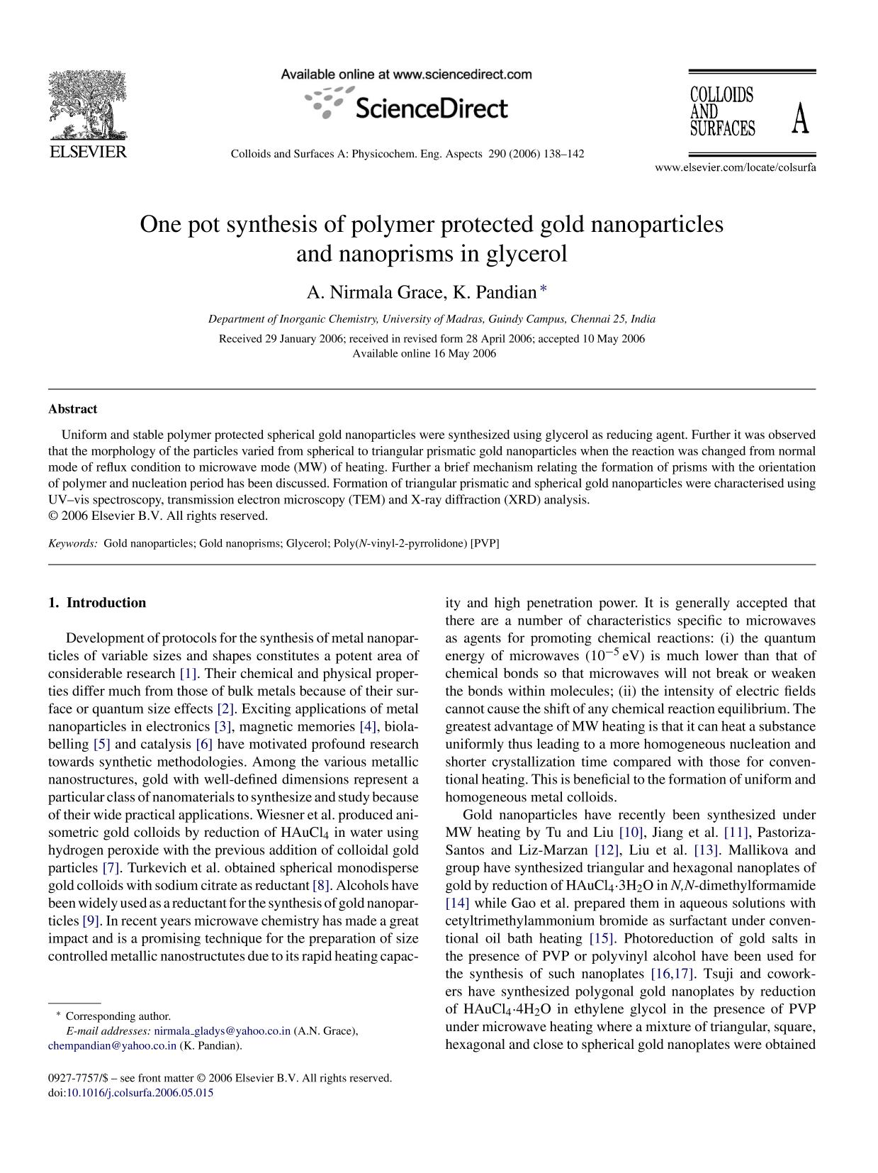 A capa do livro One pot synthesis of polymer protected gold nanoparticles and nanoprisms in glycerol