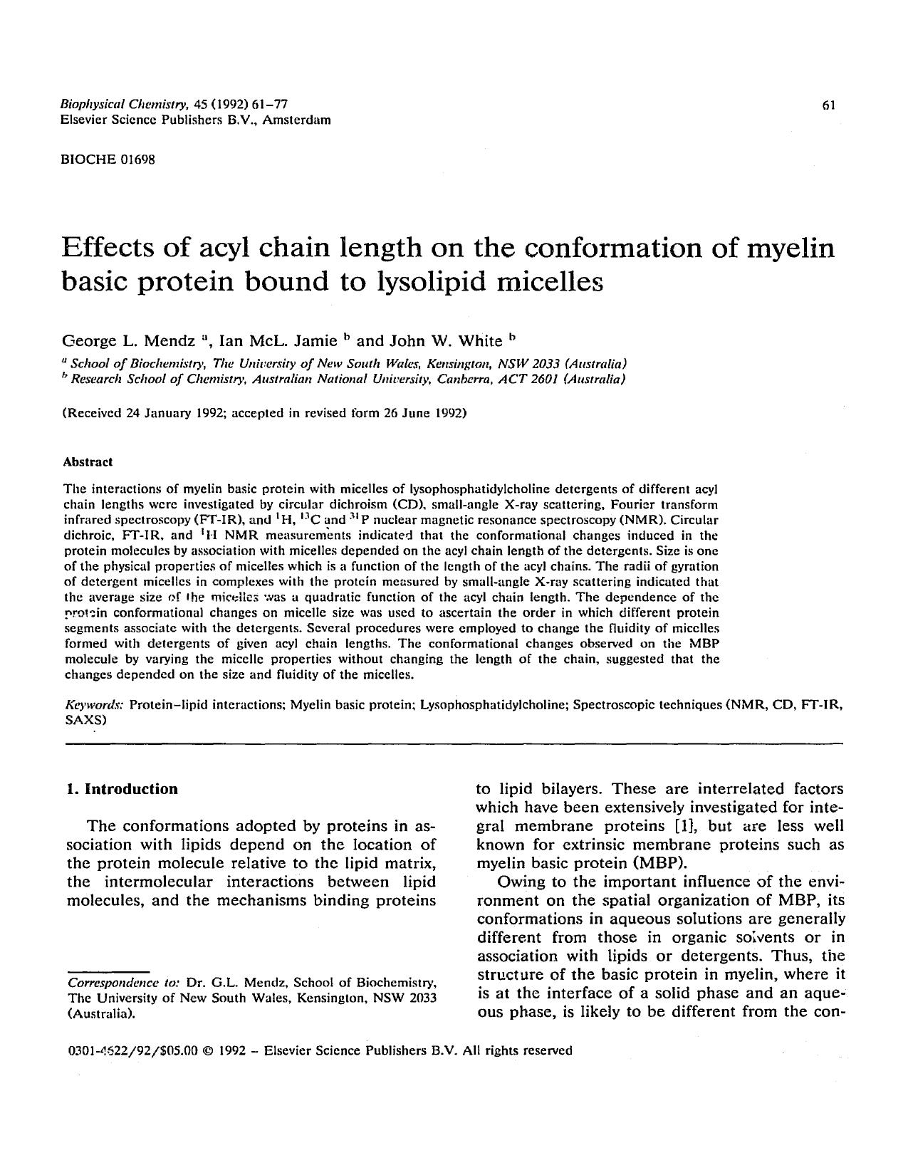 Portada del libro Effects of acyl chain length on the conformation of myelin basic protein bound to lysolipid micelles
