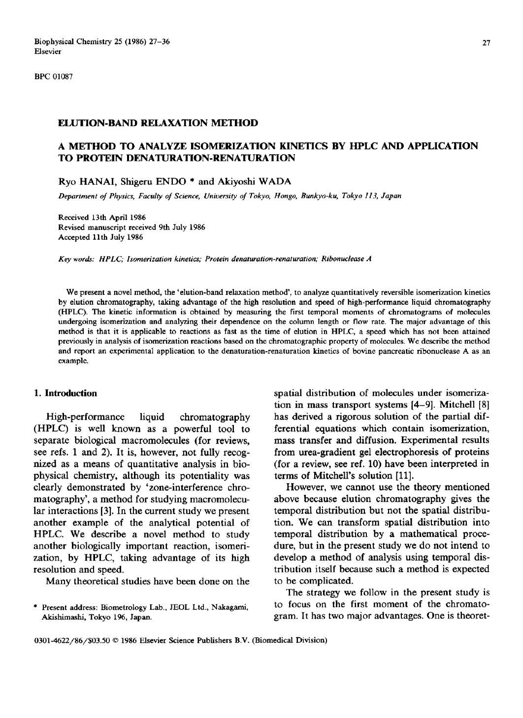 Обложка книги Elution-band relaxation method: A method to analyze isomerization kinetics by hplc and application to protein denaturation-renaturation