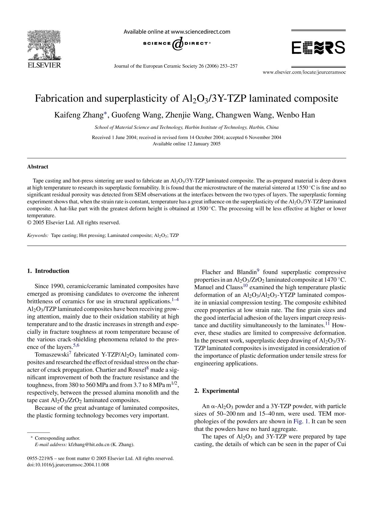 Couverture Fabrication and superplasticity of Al2O3/3Y-TZP laminated composite