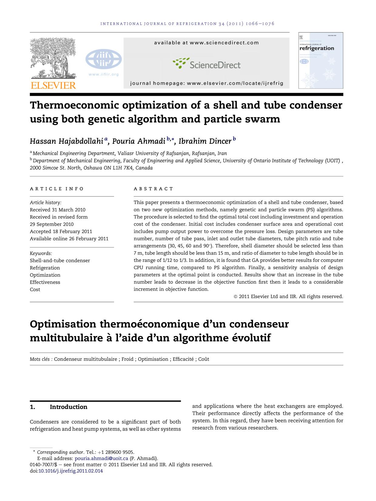 Kover buku Thermoeconomic optimization of a shell and tube condenser using both genetic algorithm and particle swarm
