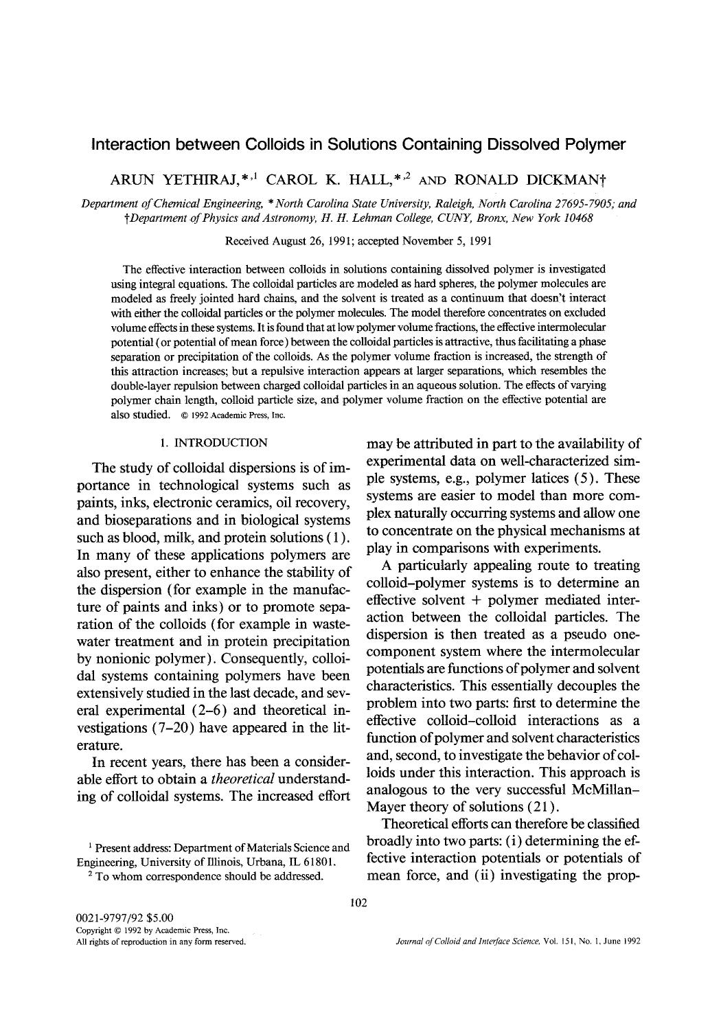 पुस्तक आवरण Interaction between colloids in solutions containing dissolved polymer