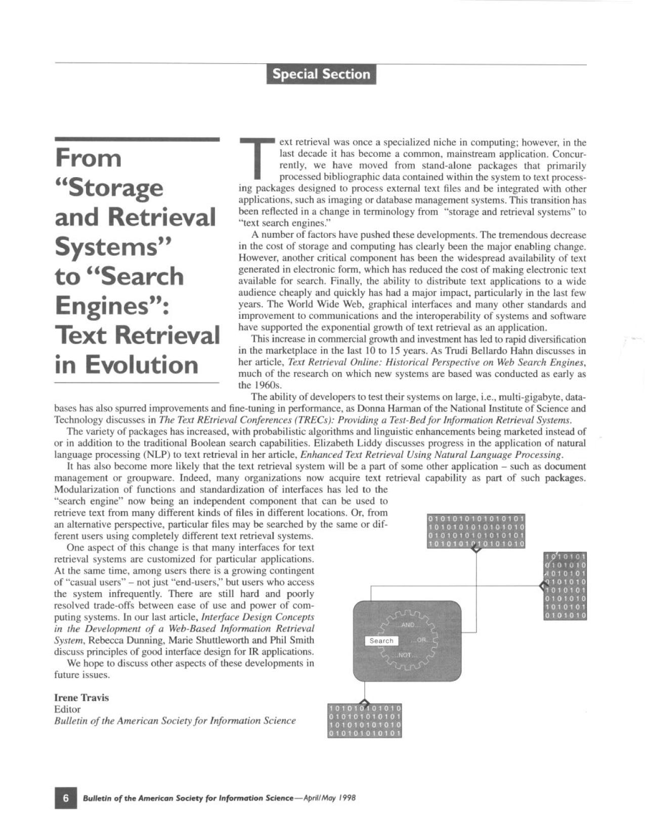 "Couverture du livre From ""Storage and Retrieval Systems"" to ""Search Engines"": Text Retrieval in Evolution"