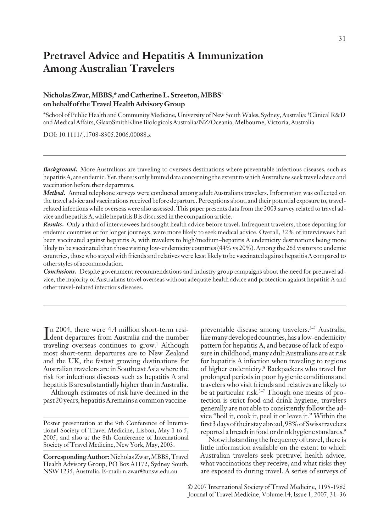 书籍封面 Pretravel Advice and Hepatitis A Immunization Among Australian Travelers