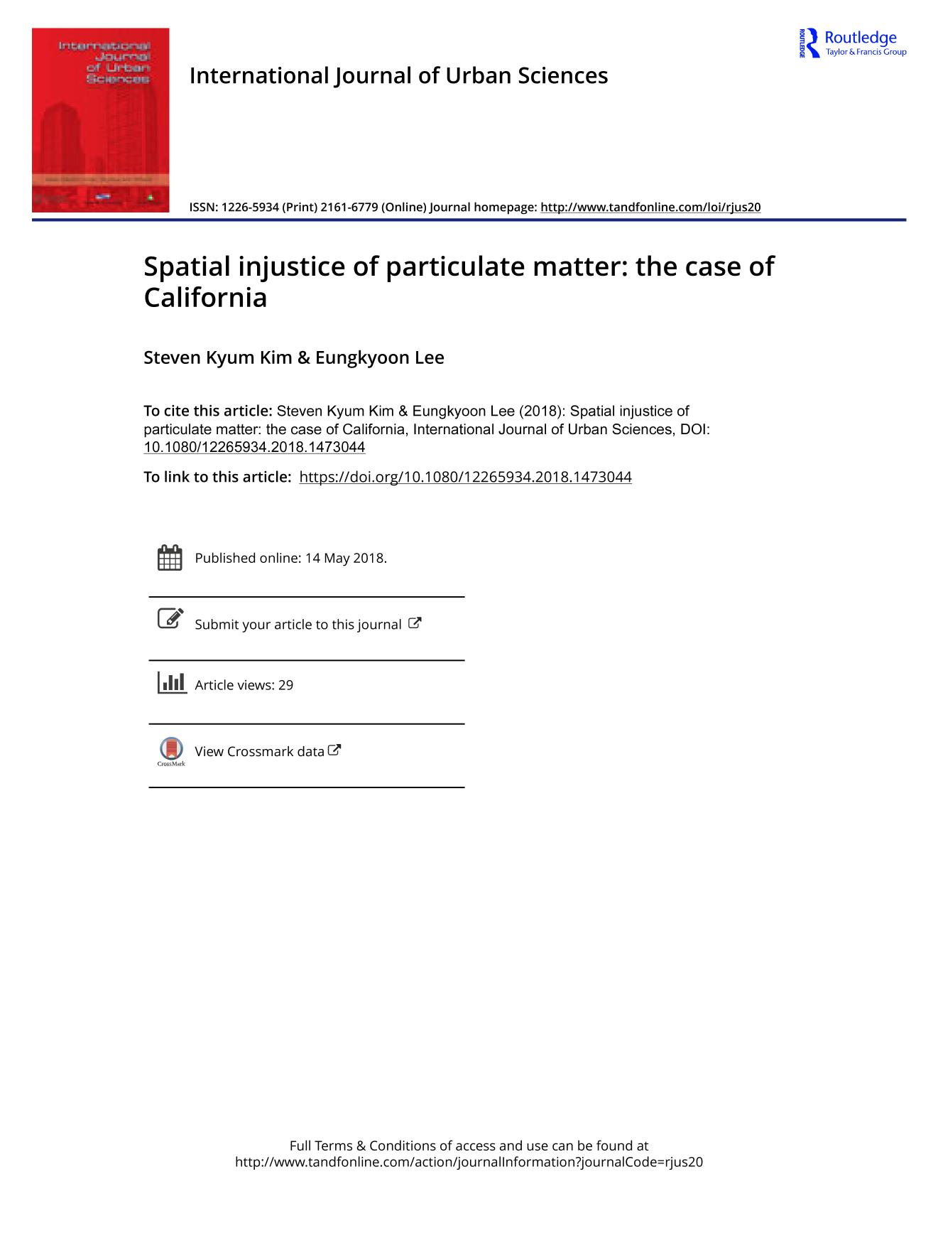 Buchdeckel Spatial injustice of particulate matter: the case of California
