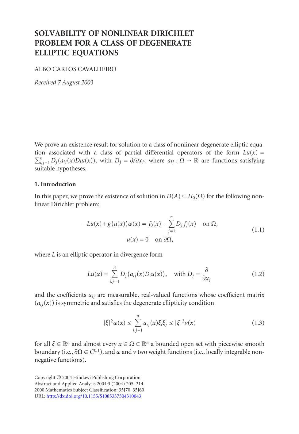 Portada del libro Solvability of nonlinear Dirichlet problem for a class of degenerate elliptic equations