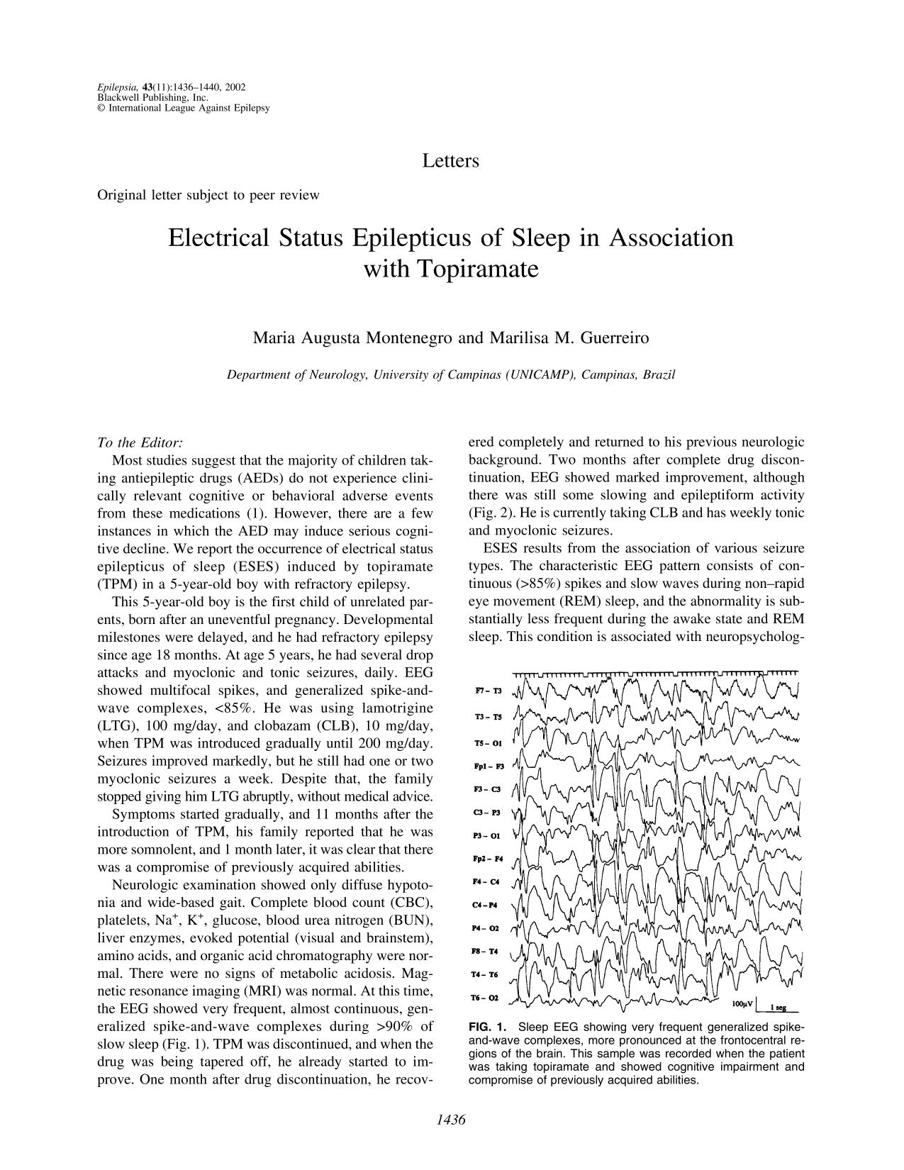 Обложка книги Electrical Status Epilepticus of Sleep in Association with Topiramate