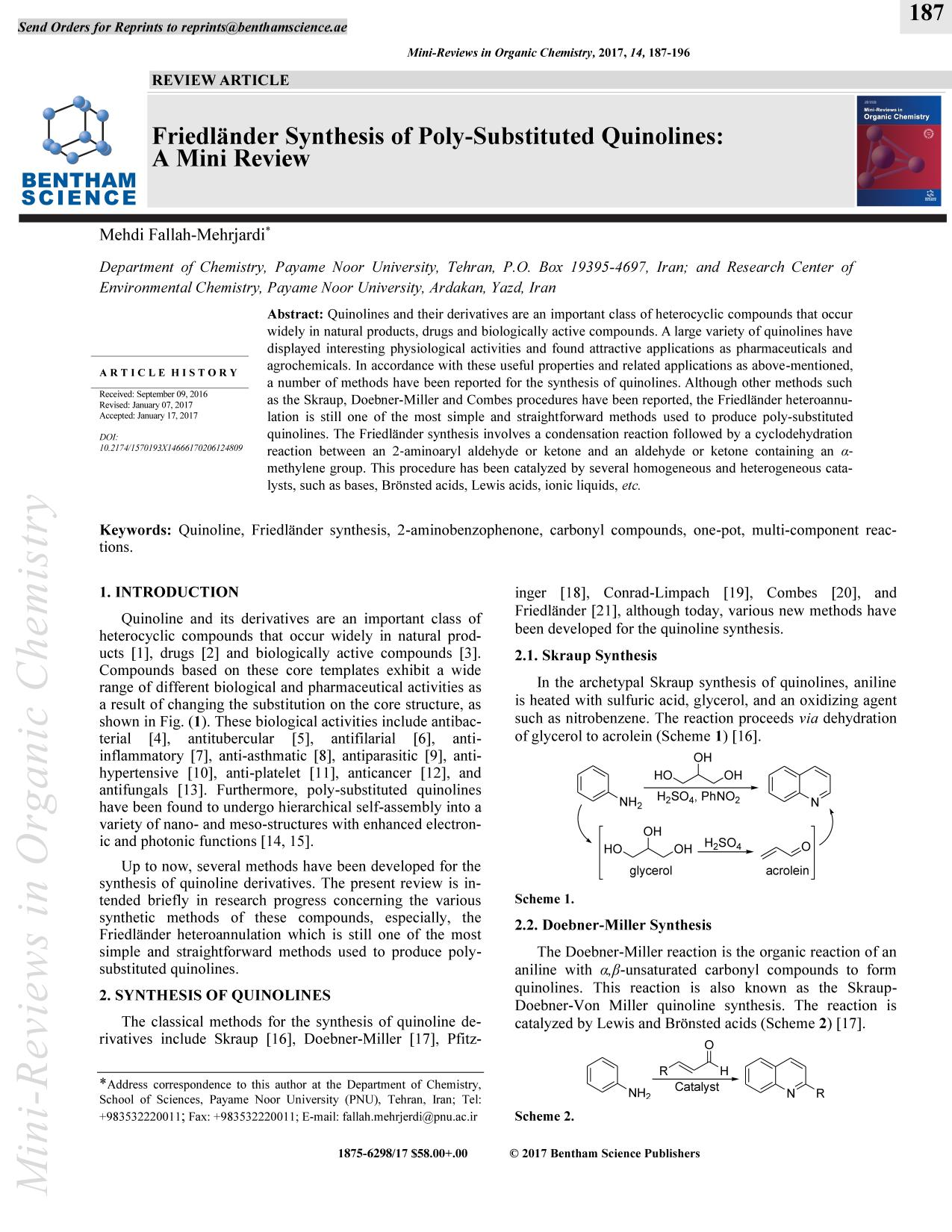Portada del libro Friedlander Synthesis of Poly-Substituted Quinolines: A Mini Review