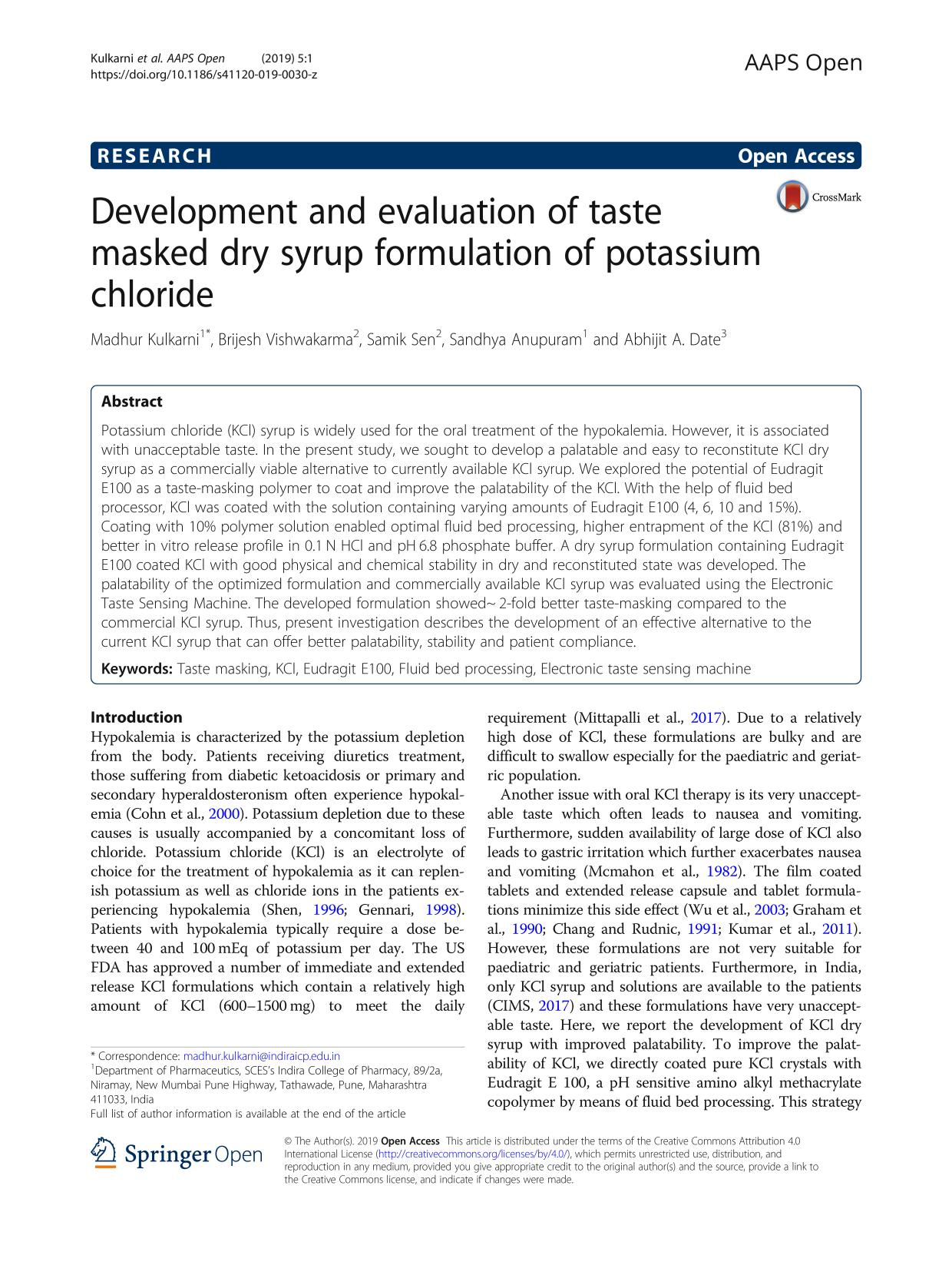 Sampul buku Development and evaluation of taste masked dry syrup formulation of potassium chloride