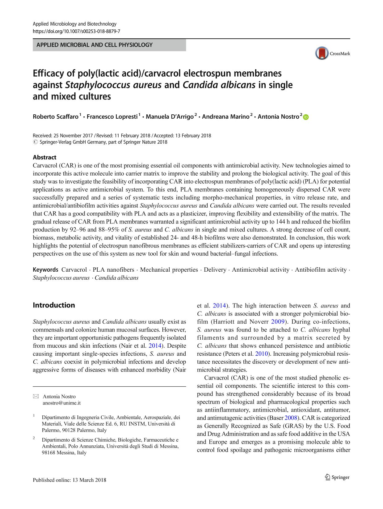 Okładka książki Efficacy of poly(lactic acid)/carvacrol electrospun membranes against Staphylococcus aureus and Candida albicans in single and mixed cultures