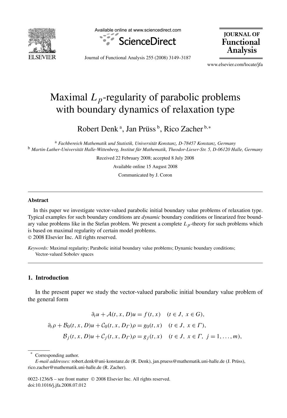 Couverture Maximal -regularity of parabolic problems with boundary dynamics of relaxation type