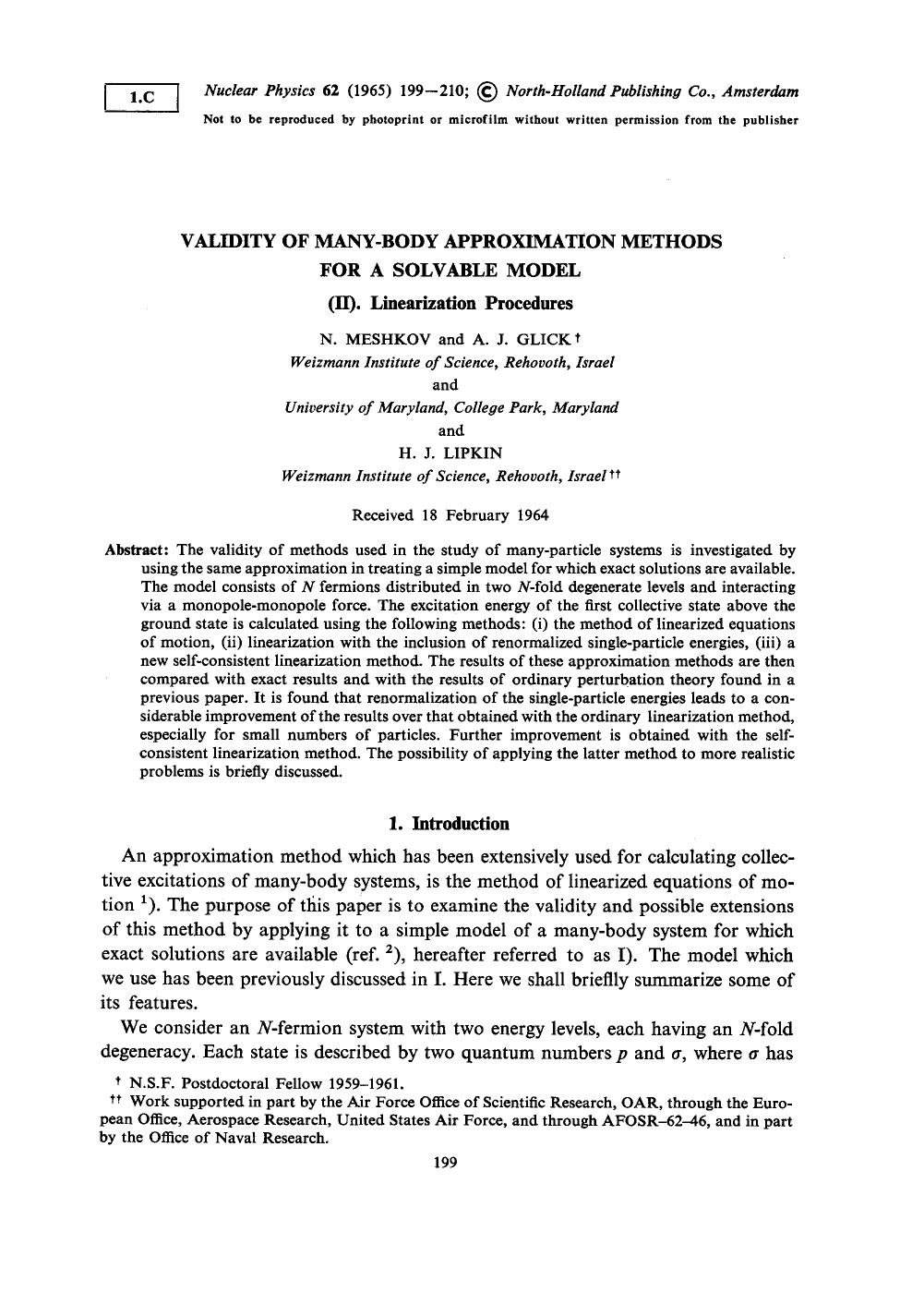 Book cover Validity of many-body approximation methods for a solvable model: (II). Linearization procedures