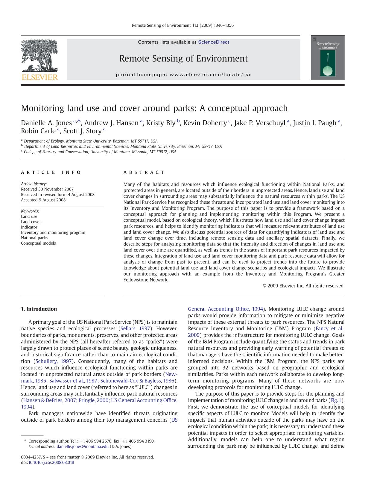 Couverture du livre Monitoring land use and cover around parks: A conceptual approach