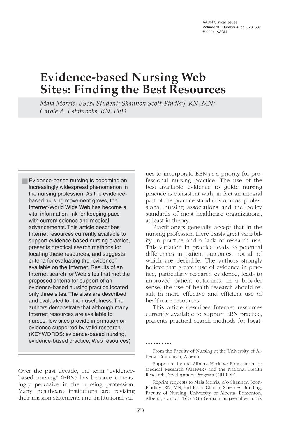 Copertina del libro Evidence-based Nursing Web Sites: Finding the Best Resources