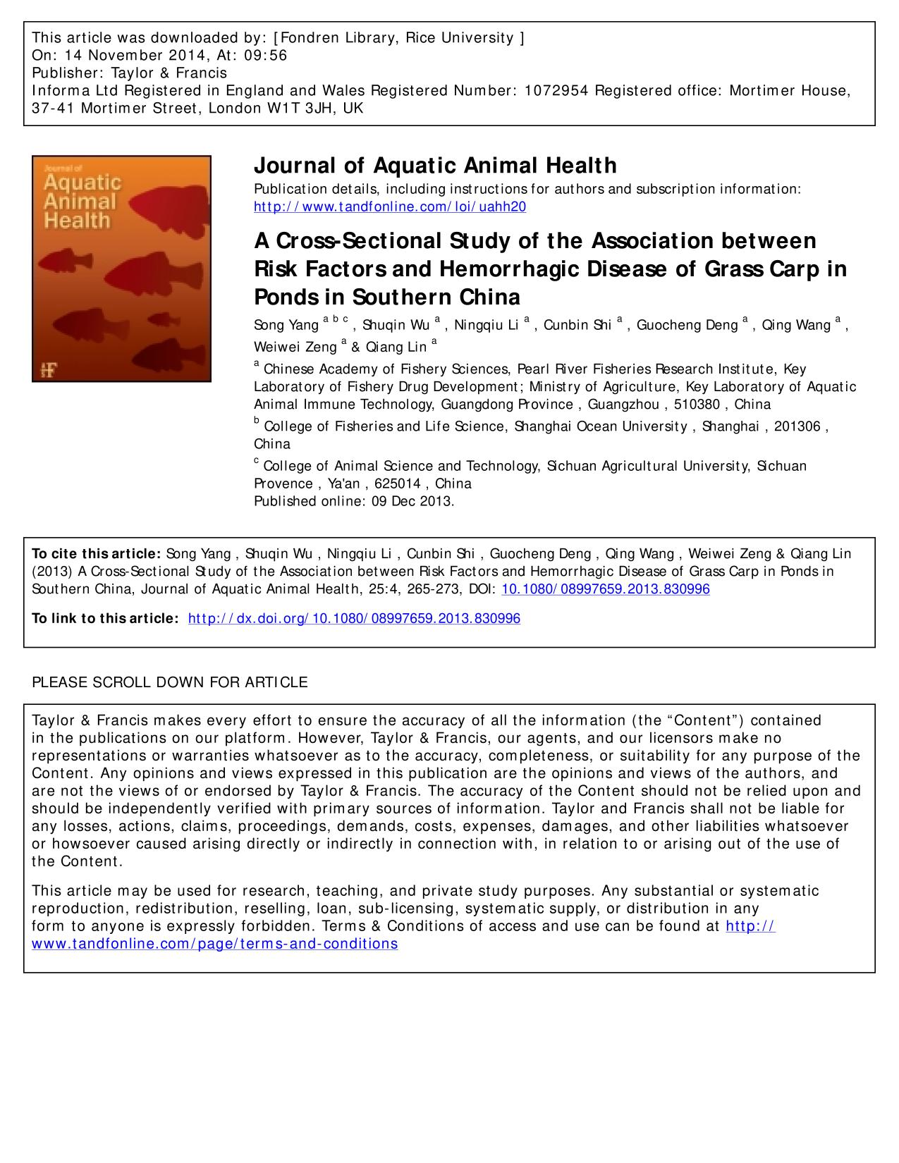 Portada del libro A Cross-Sectional Study of the Association between Risk Factors and Hemorrhagic Disease of Grass Carp in Ponds in Southern China