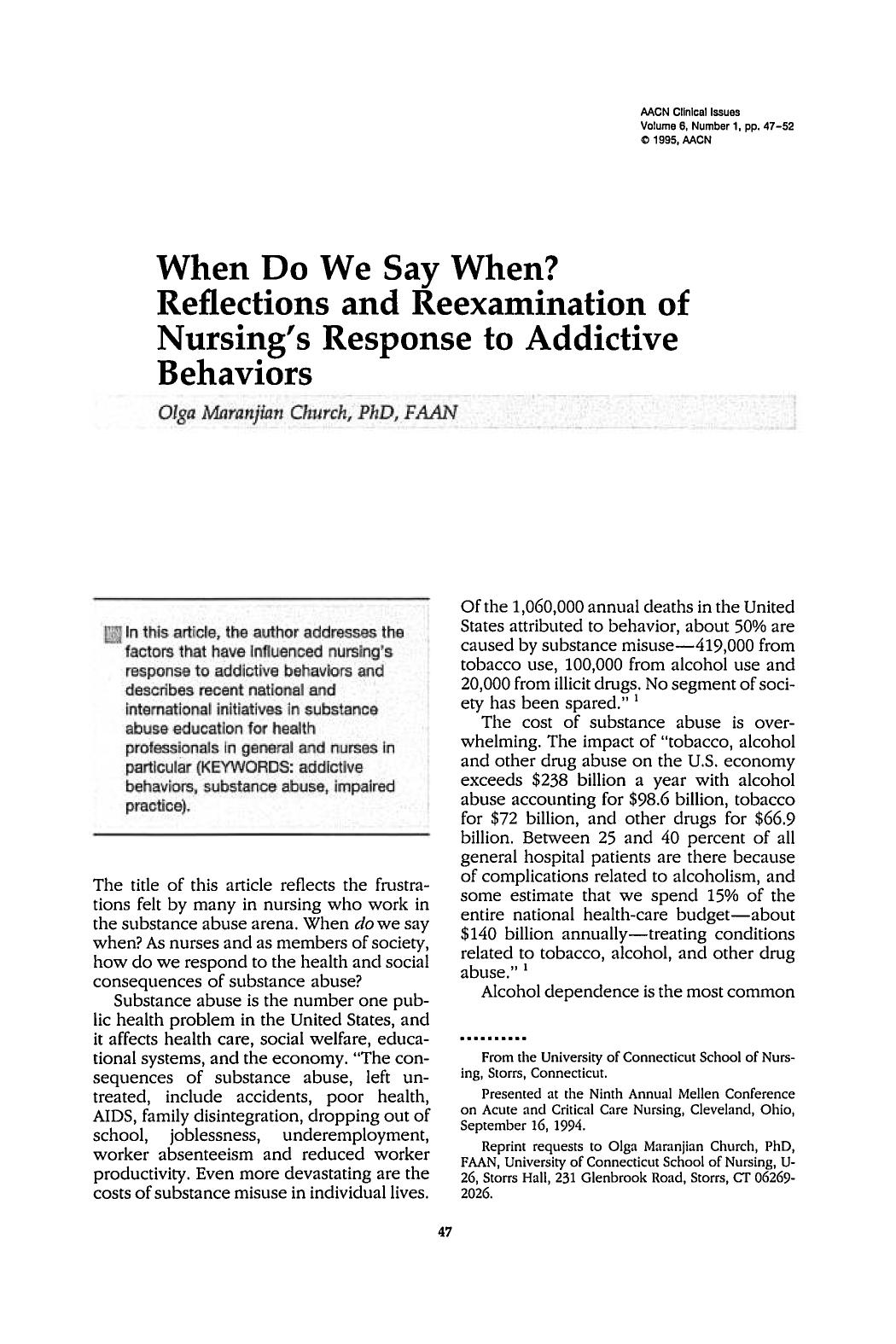 Couverture When Do We Say When? Reflections and Reexamination of Nursing's Response to Addictive Behaviors