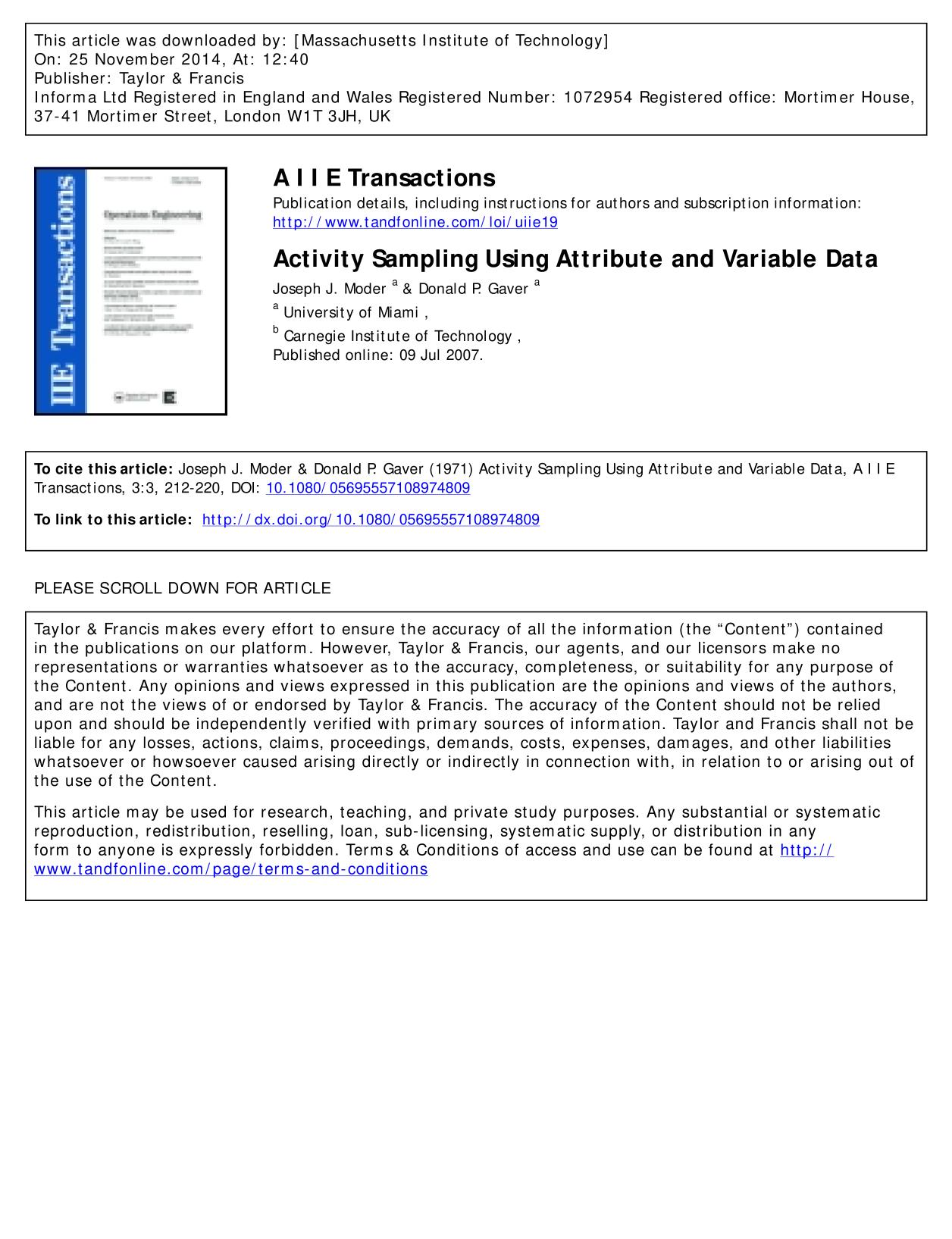 Couverture du livre Activity Sampling Using Attribute and Variable Data