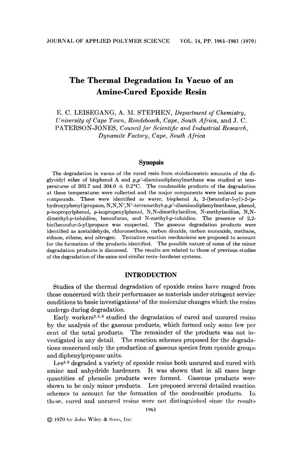 หน้าปก The thermal degradation in vacuo of an amine-cured epoxide resin