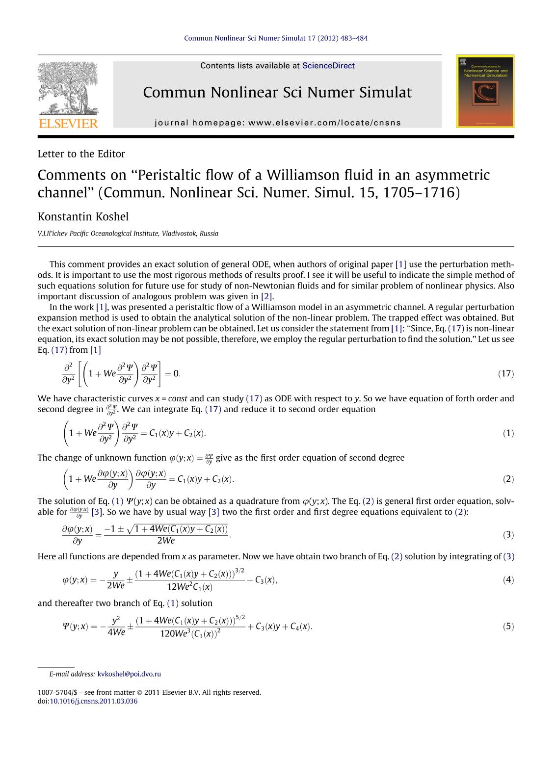 "Book cover Comments on ""Peristaltic flow of a Williamson fluid in an asymmetric channel"" (Commun. Nonlinear Sci. Numer. Simul. 15, 1705–1716)"