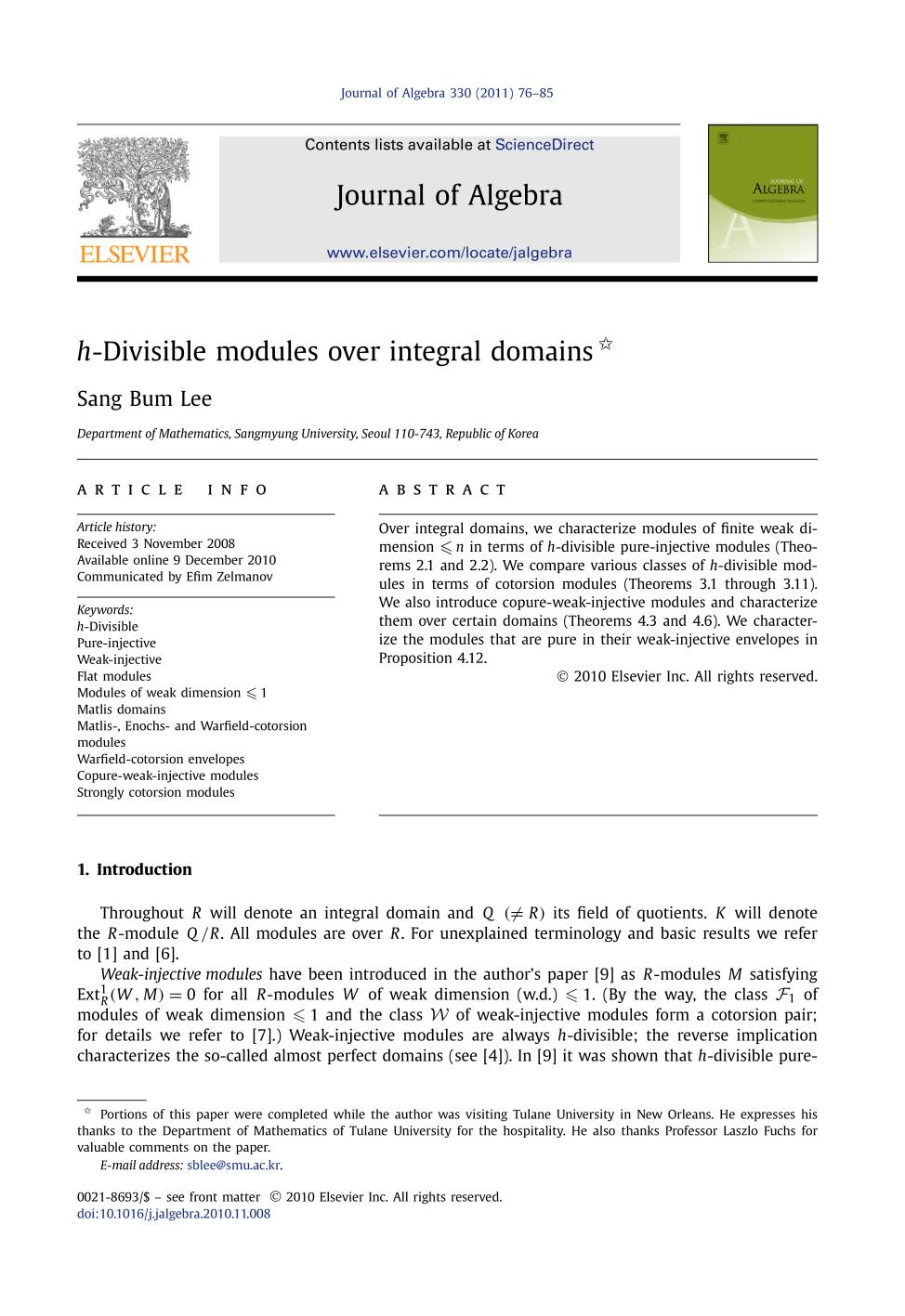 Book cover h-Divisible modules over integral domains