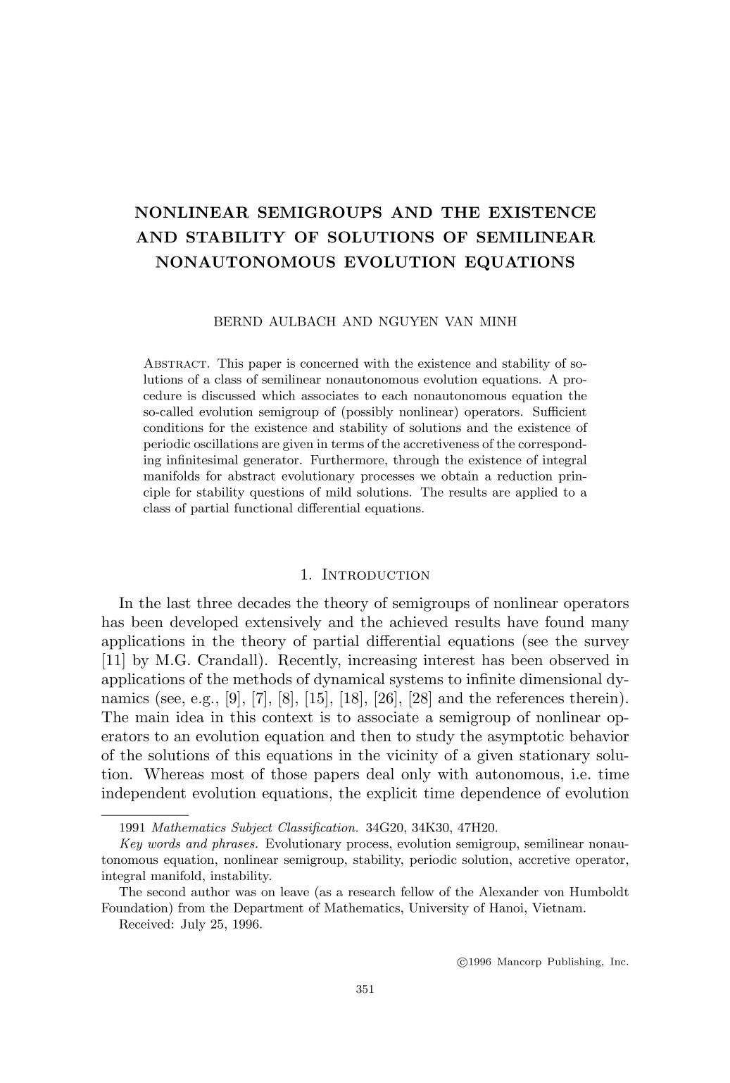 Buchdeckel Nonlinear semigroups and the existence and stability of solutions of semilinear nonautonomous evolution equations