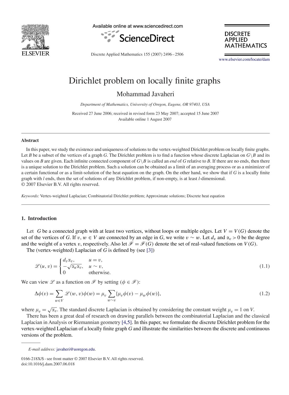 Couverture Dirichlet problem on locally finite graphs