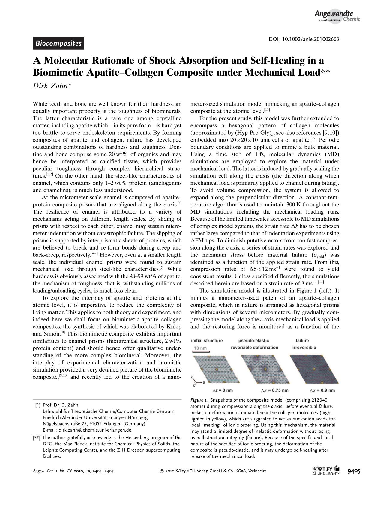 Sampul buku A Molecular Rationale of Shock Absorption and Self-Healing in a Biomimetic Apatite–Collagen Composite under Mechanical Load