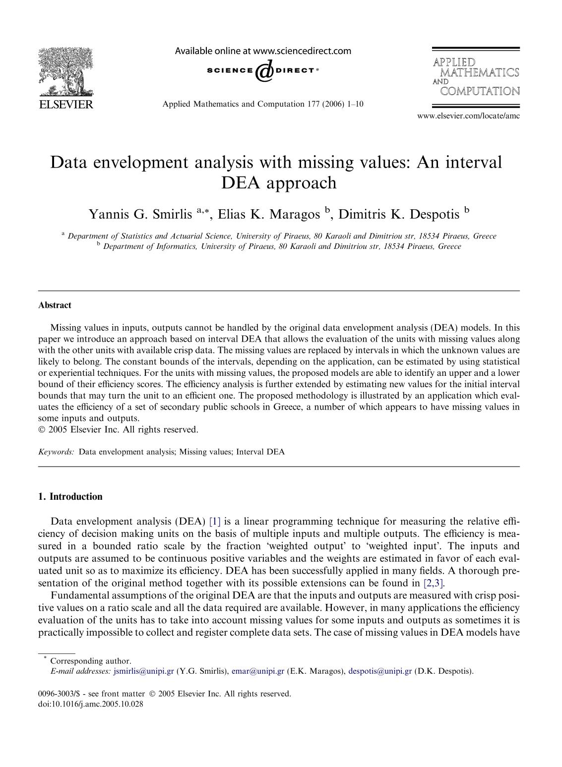 書籍の表紙 Data envelopment analysis with missing values: An interval DEA approach